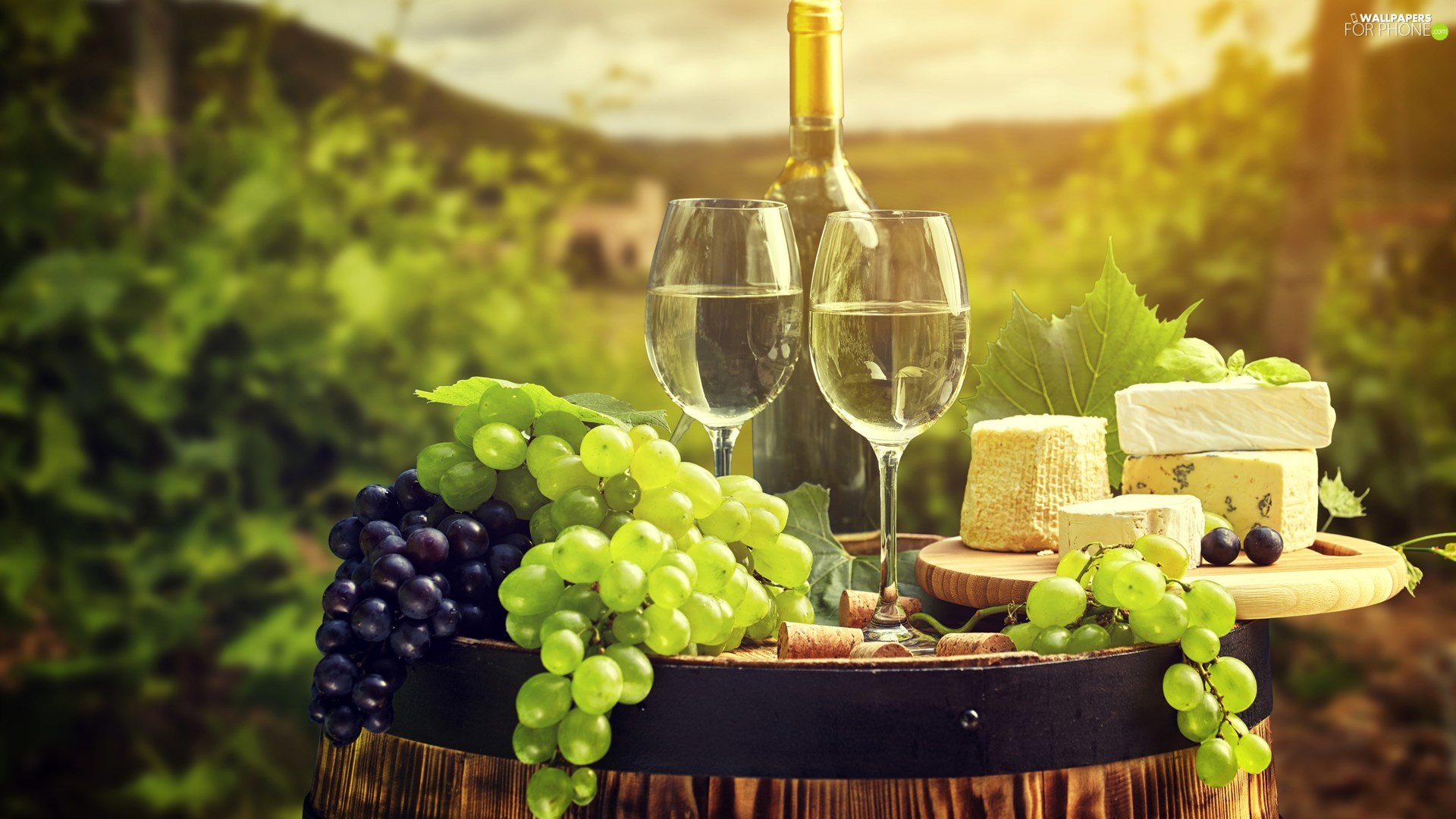 Bottle, Two cars, Cheese, glasses, Wine, Grapes, barrel