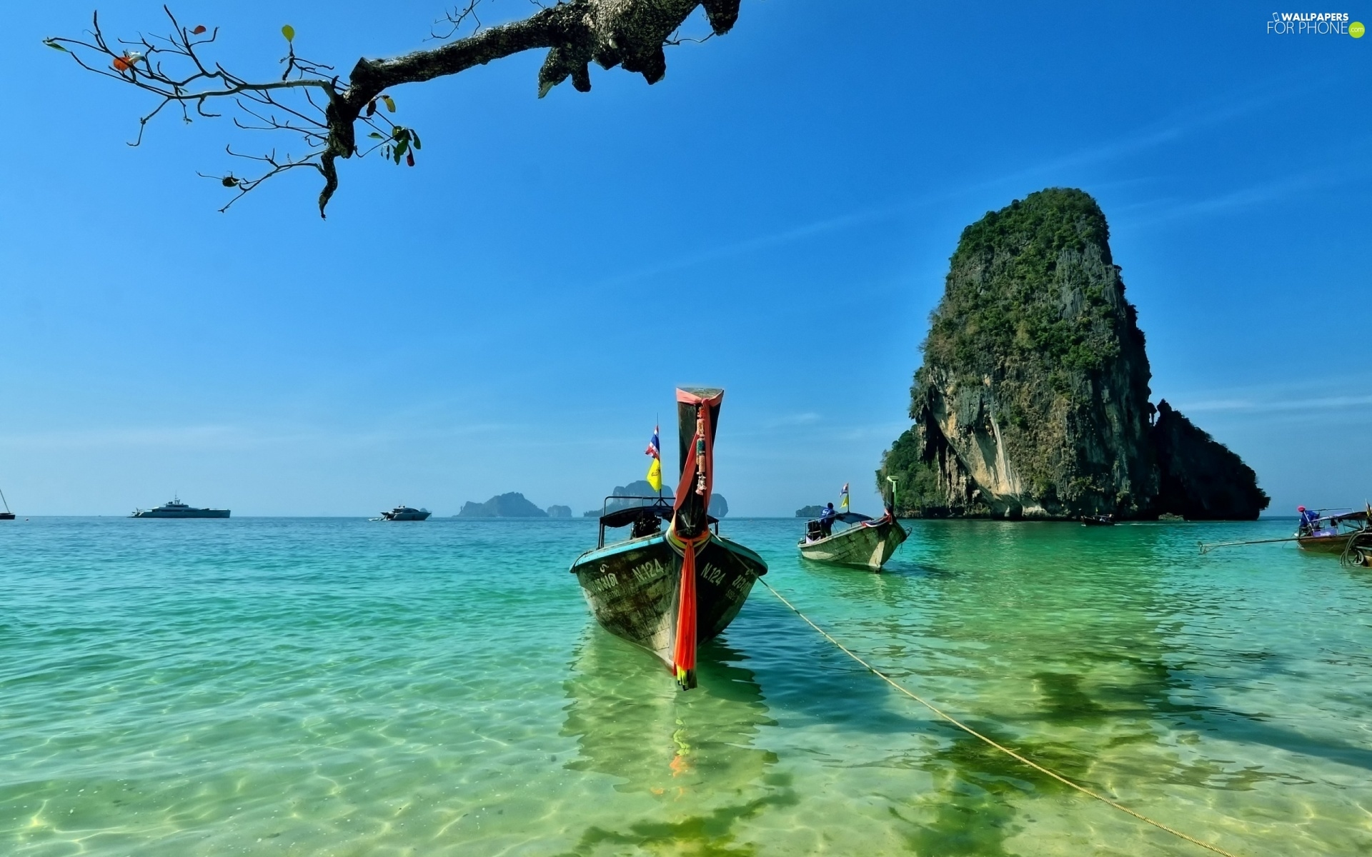 Thailand Reilly Boats Rocks Peninsula Beaches Sea For Phone