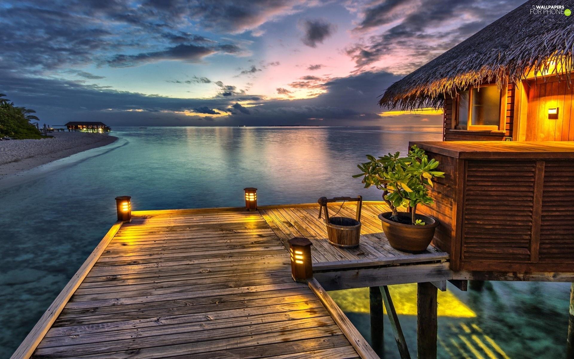 Lanterns An Sea Piles House Beaches Tropical For
