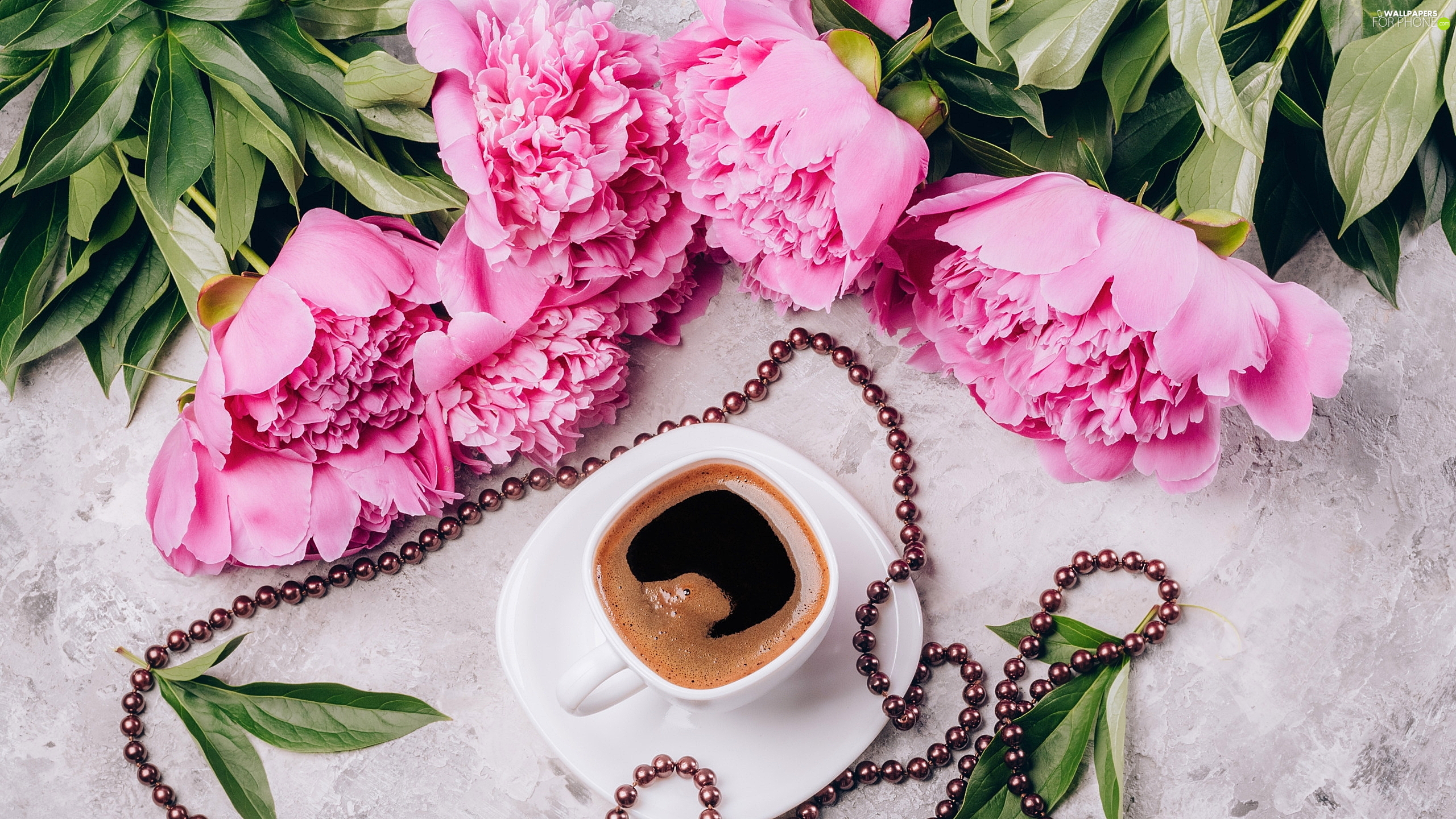 coffee, beads, Peonies, cup, Flowers