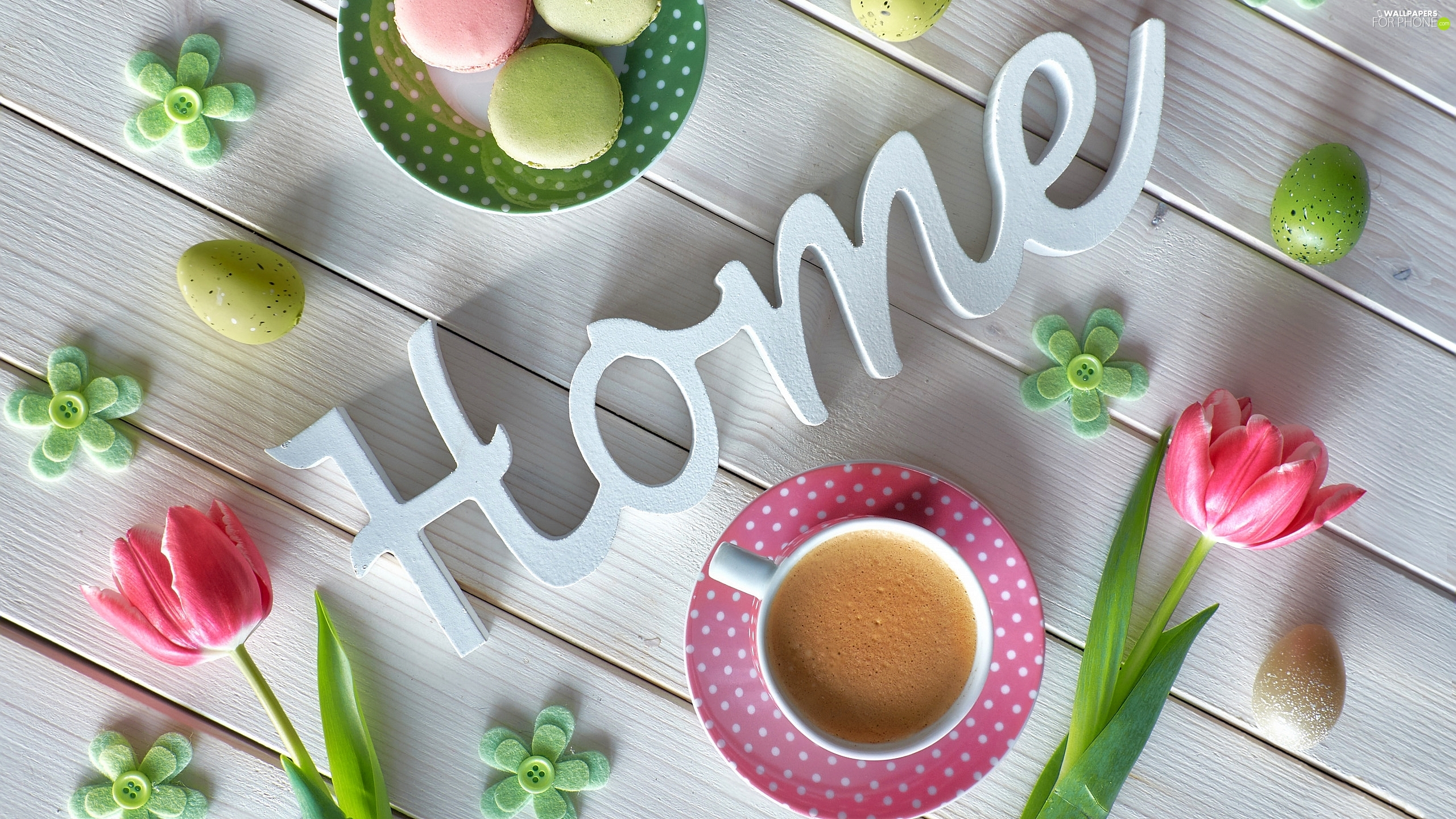 coffee, Cookies, text, Tulips, eggs, composition, boarding, cup, Macaroons, flowers, home