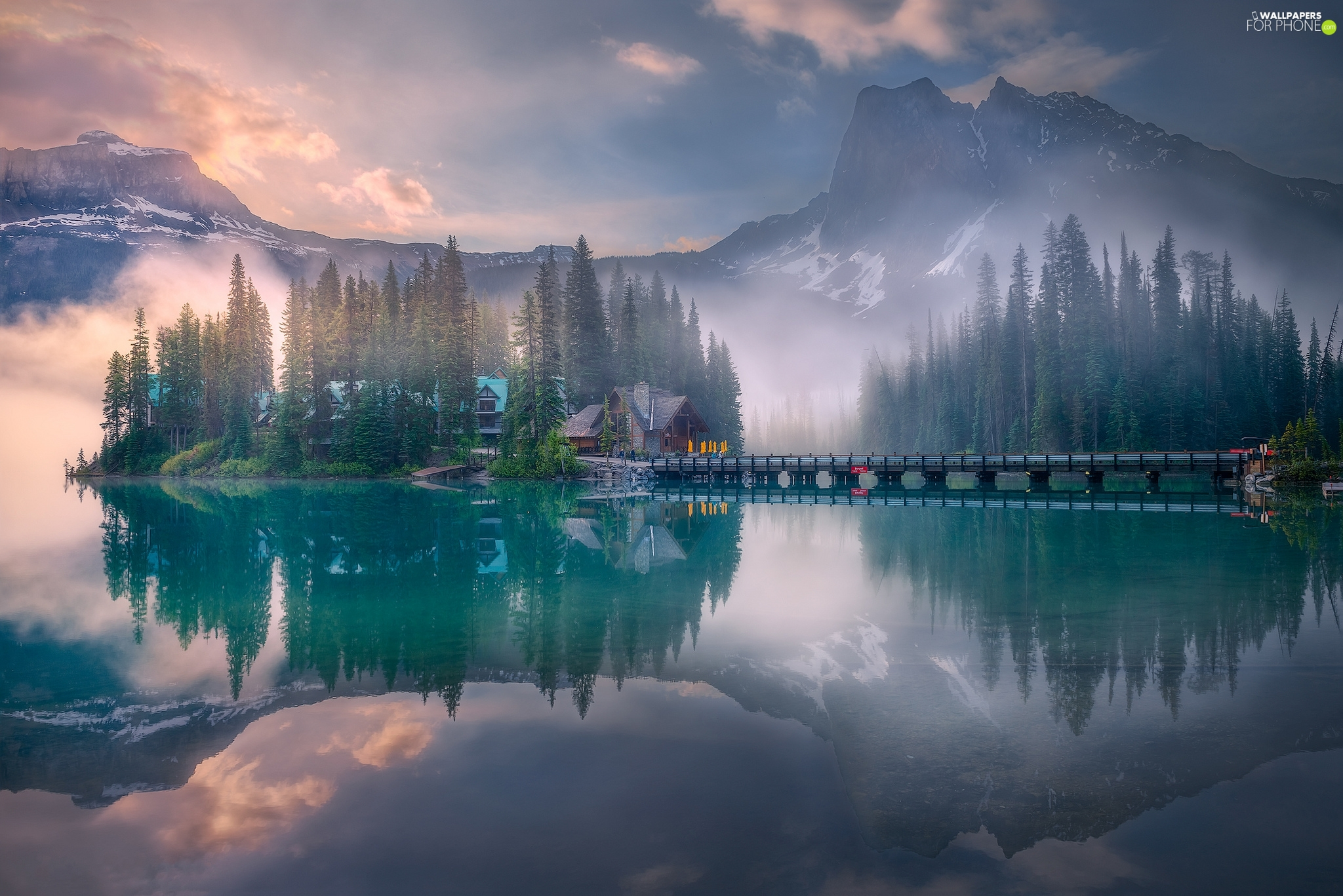 Fog, Emerald Lake, bridge, Province of British Columbia, Mountains, Yoho National Park, house, Canada, clouds, forest