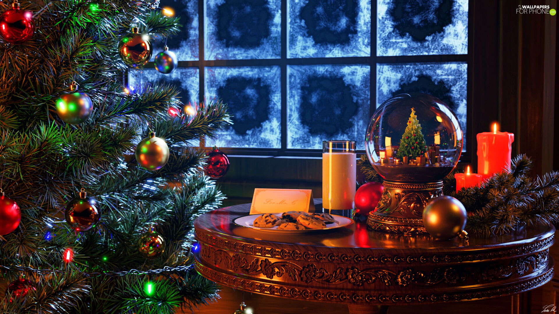 Orb, christmas tree, cookies, Table, Christmas, baubles, Candles