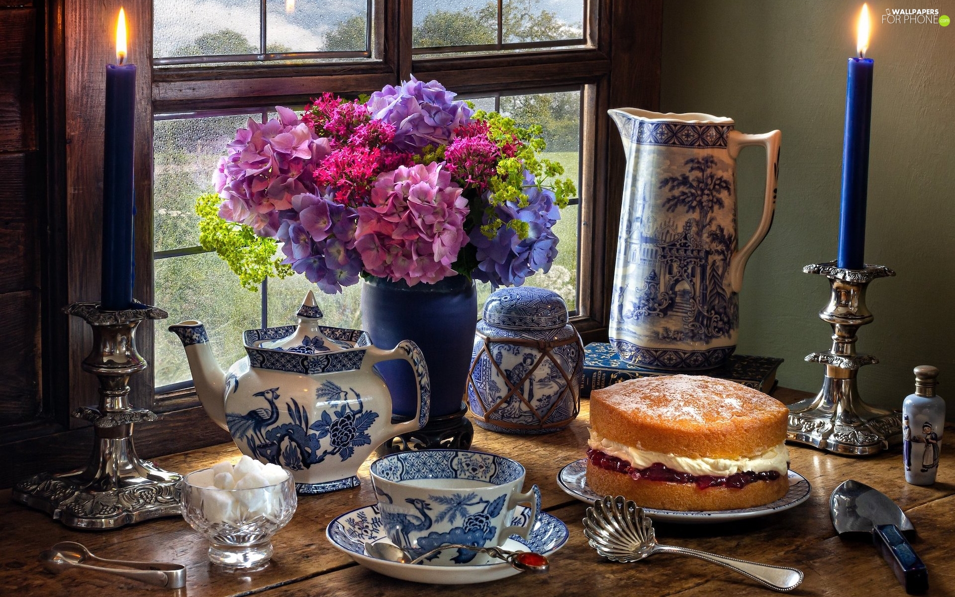 candlesticks, Window, hydrangeas, cake, jug, composition, candle, cup, Candles, sugar
