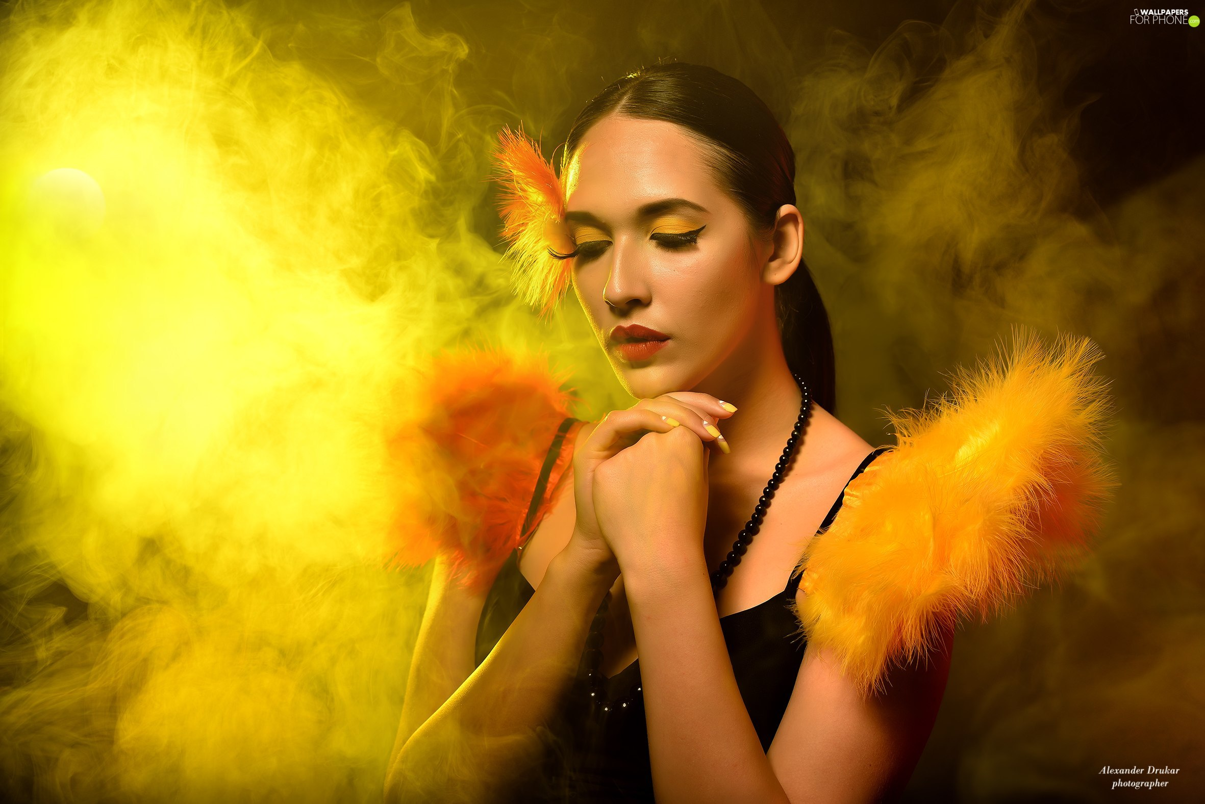 chaplet, smoke, feather, make-up, Women