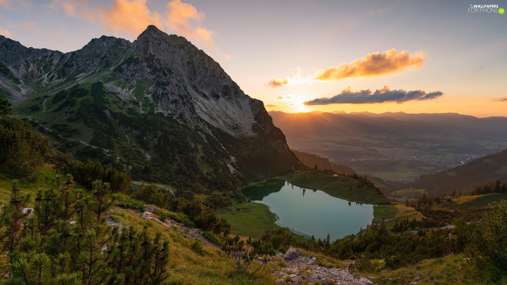 trees, Mountains, Sunrise, clouds, viewes, lake
