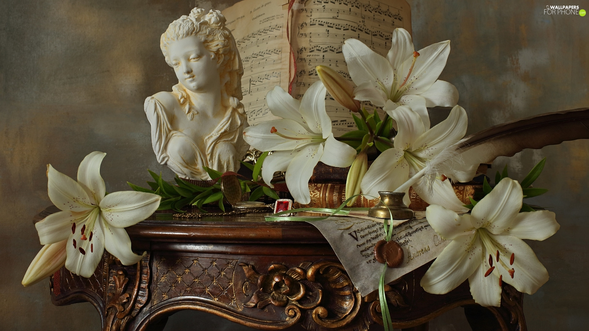 table, composition, bust, Tunes, lilies