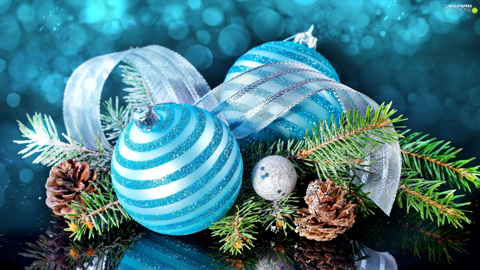 baubles, Christmas, ribbon, cones, Twigs, Blue