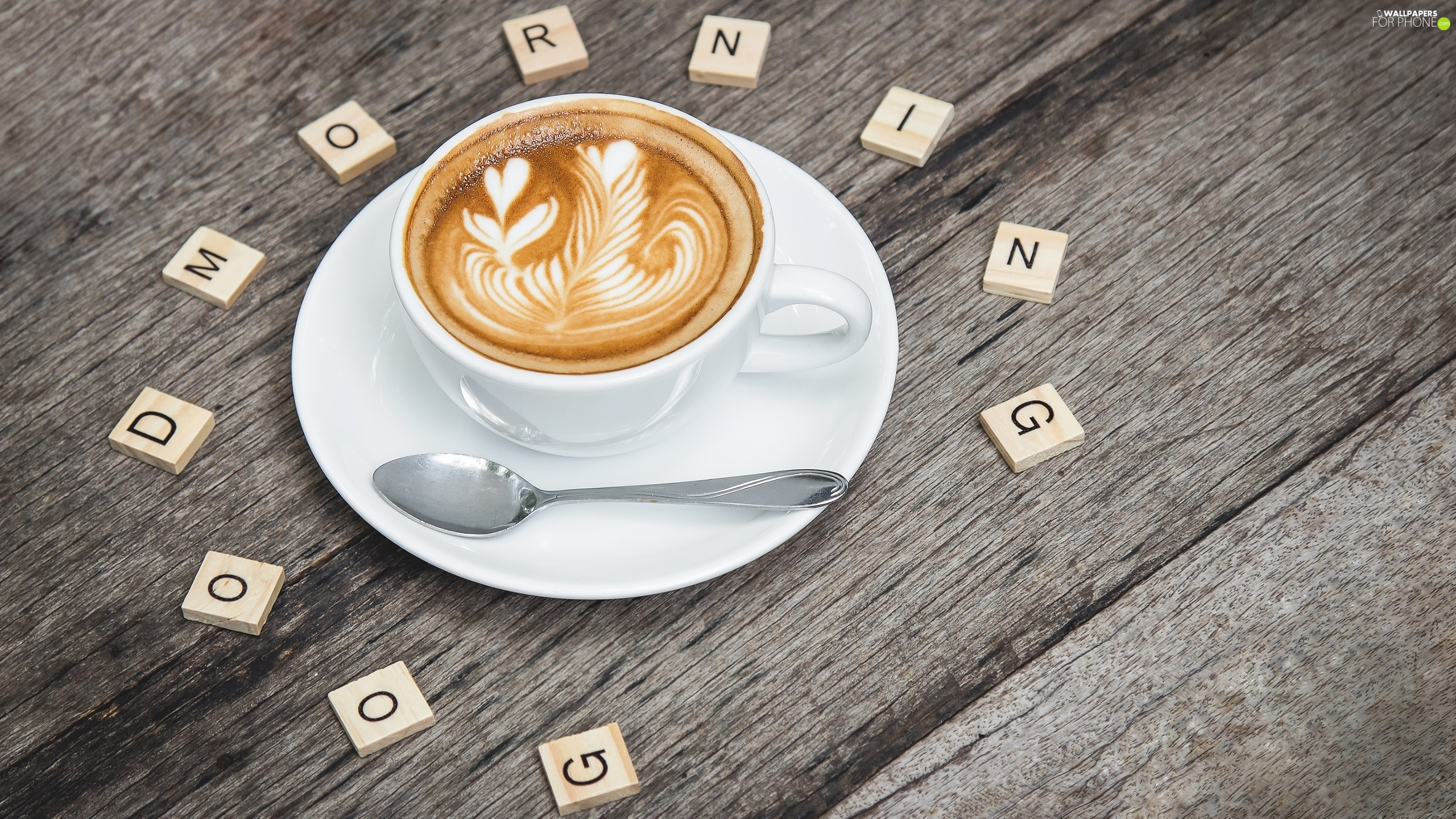 cup, teaspoon, Good Morning, Scrabble, Good morning, cappuccino, coffee, text