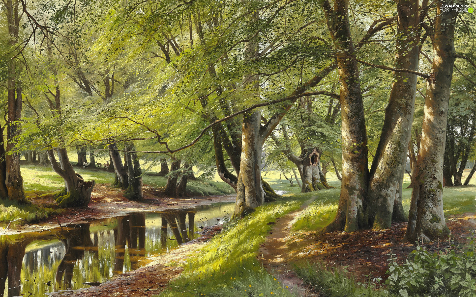 trees, Peder Monsted, River, forest, painting, viewes, deer