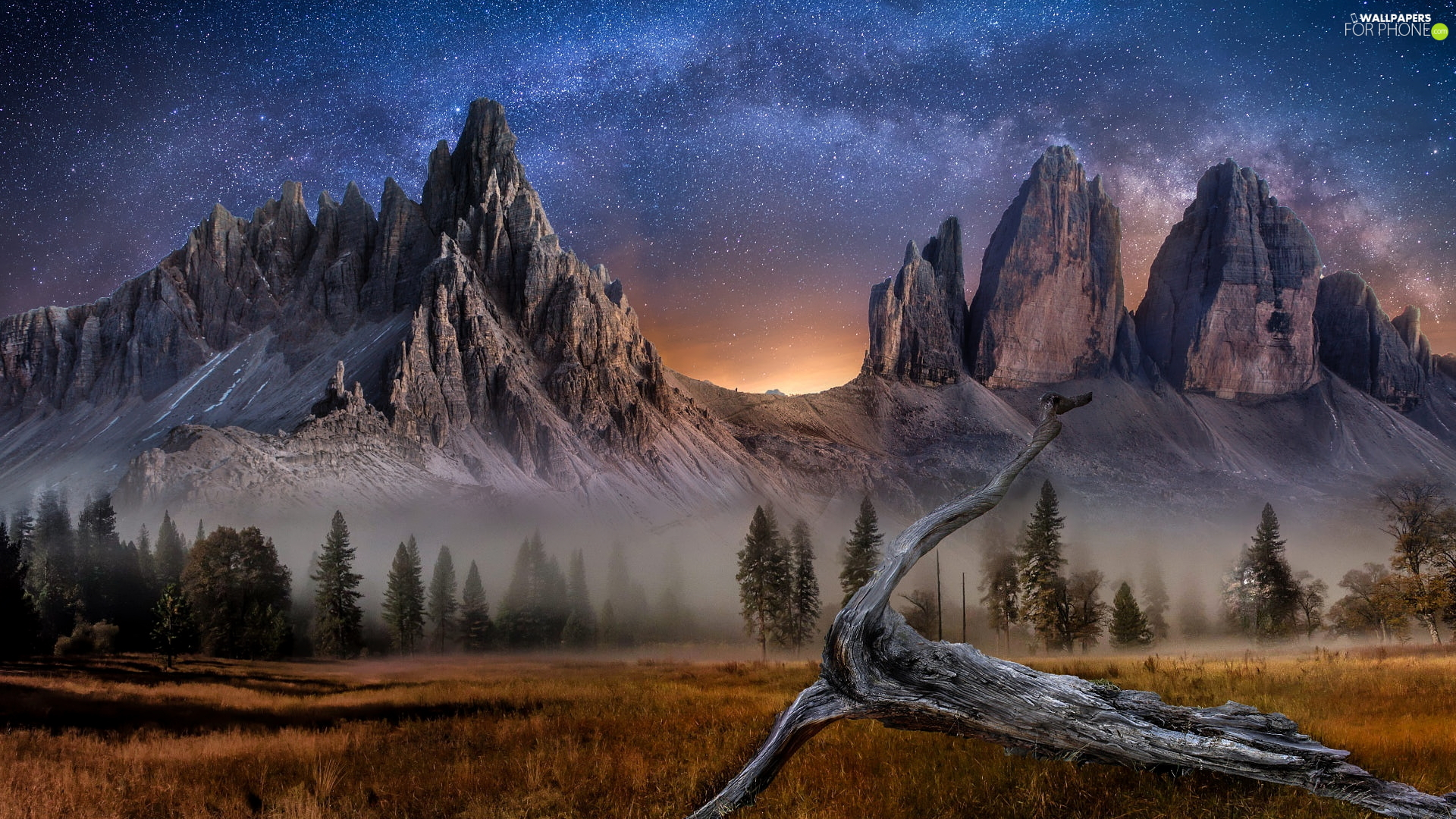 Dolomites, Mountains, edifice, Tre Cime di Lavaredo, Province of Belluno, Italy, Star way, Lod on the beach, star