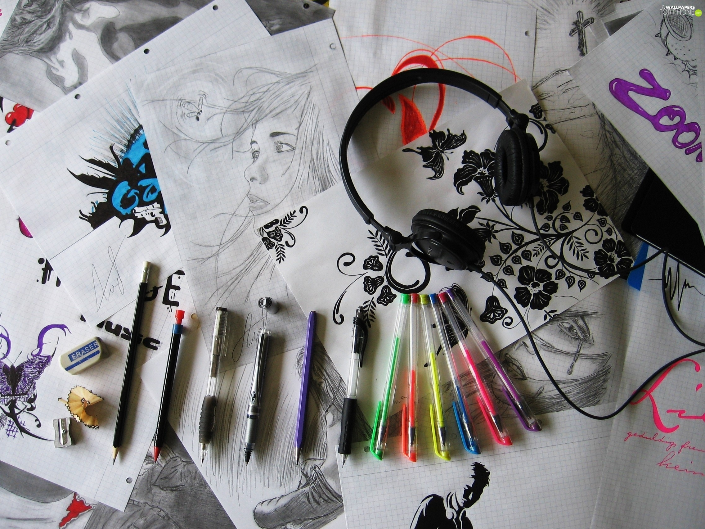 Pens, HEADPHONES, drawings, Pencils