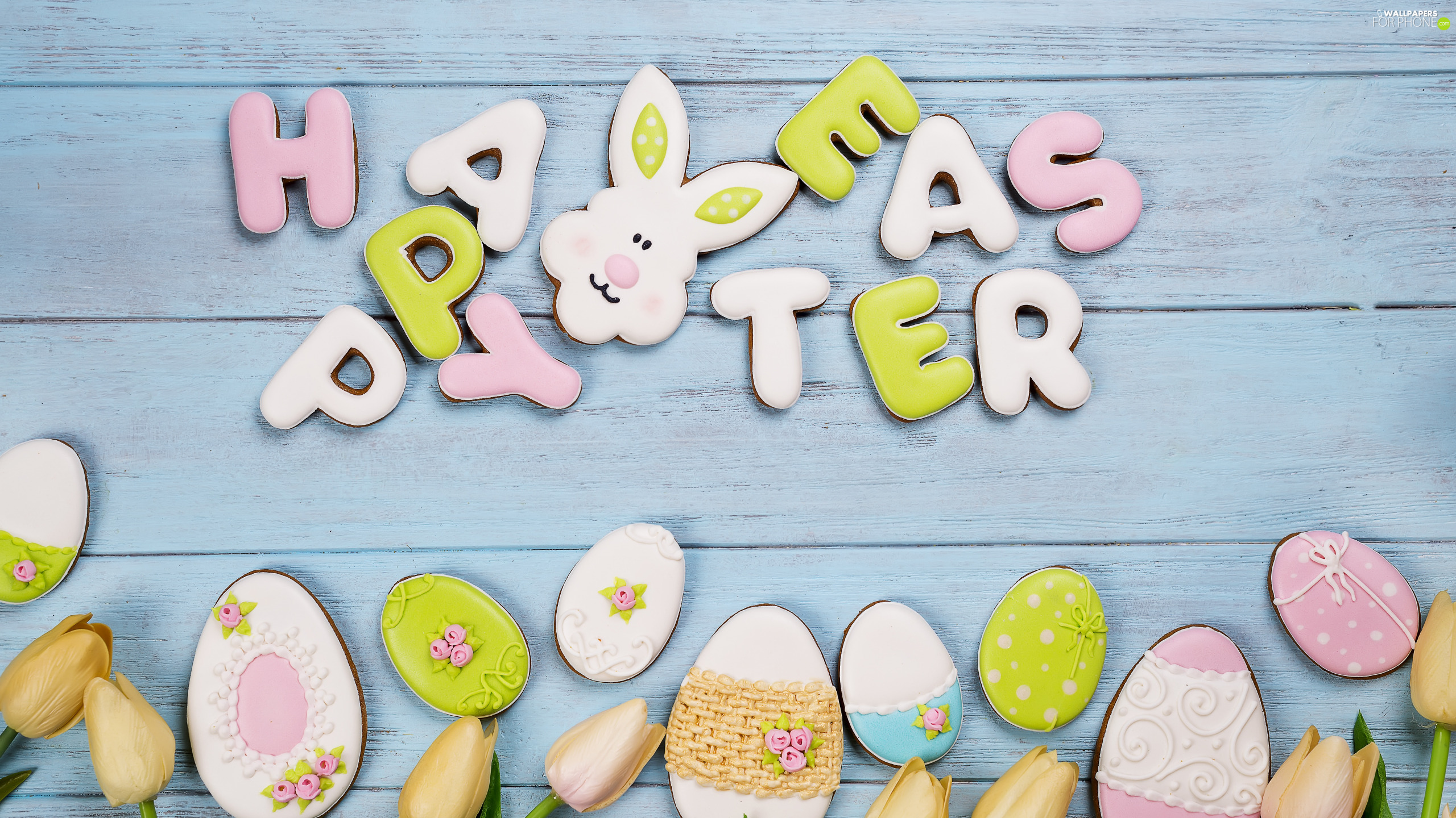 Tulips, eggs, Happy Easter, rabbit, Cookies, text, Easter