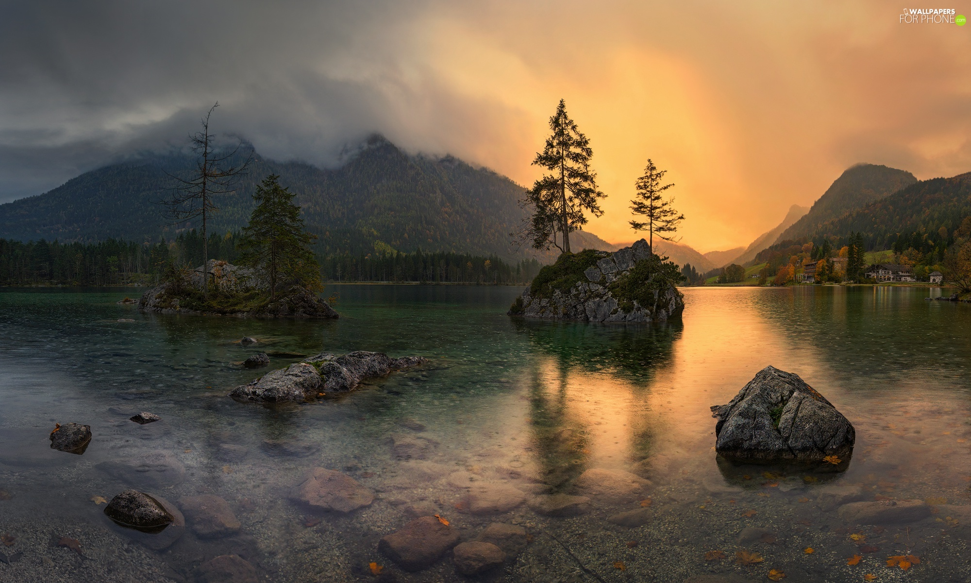 rocks, Lake Hintersee, trees, viewes, Bavaria, Germany, Fog, Houses, Alps Mountains