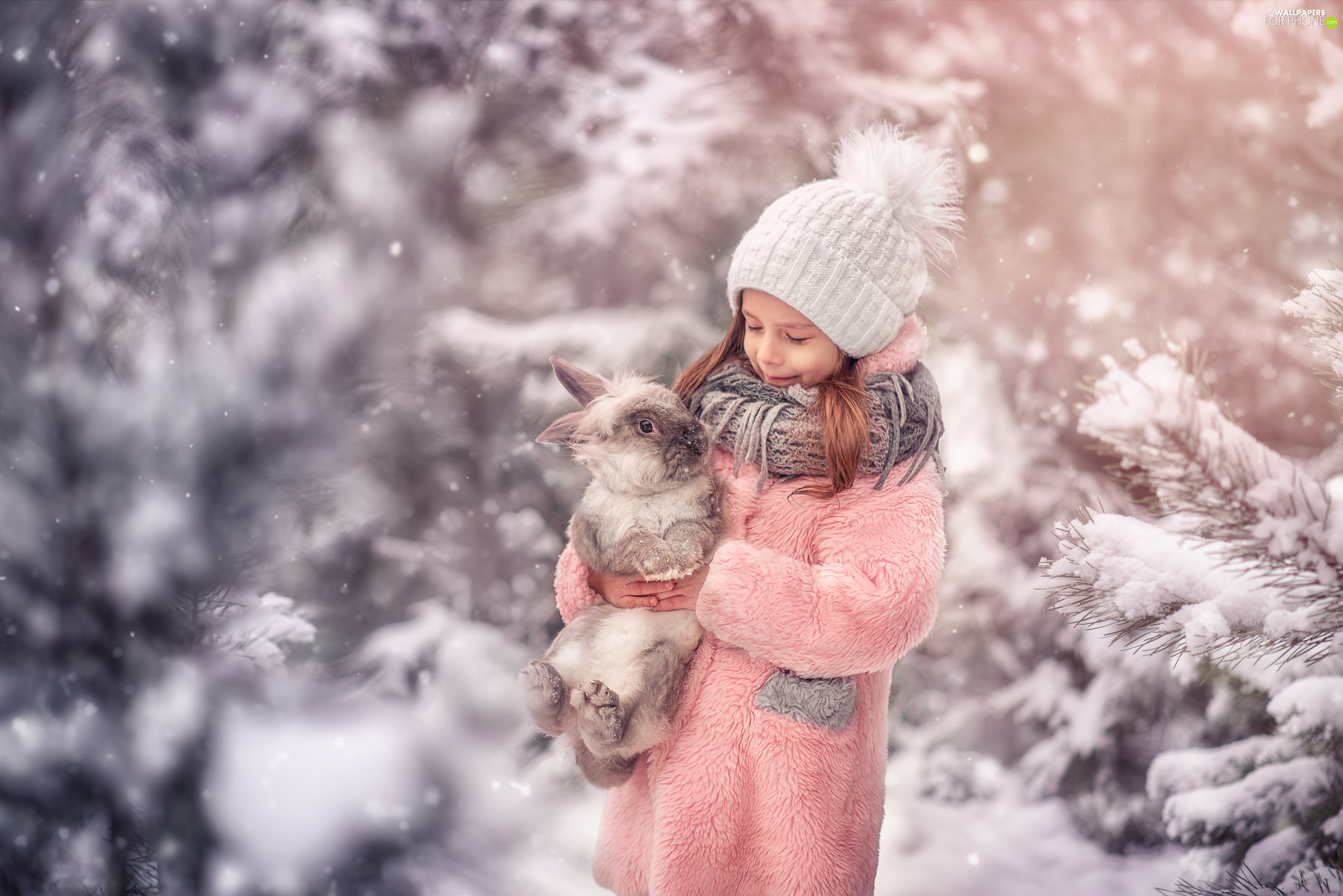 Kid, Rabbit, winter, girl