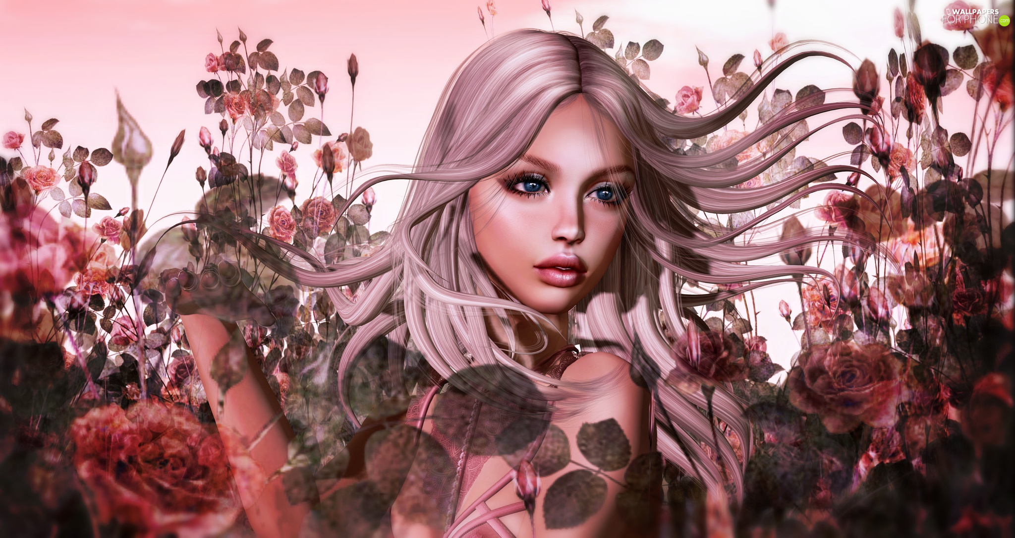 dispelled, Women, Flowers, graphics, Hair, face
