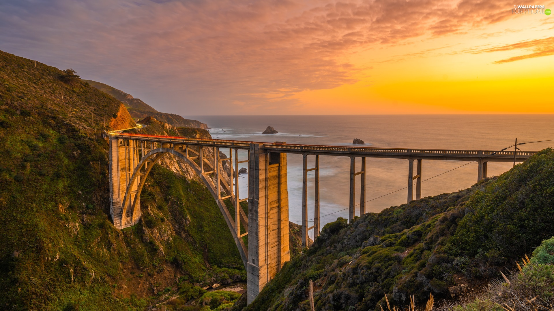 Coast, Big Sur Region, The United States, Great Sunsets, California, Bixby Creek Bridge, sea, clouds