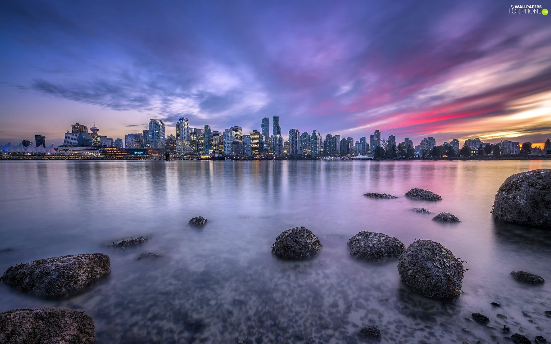 skyscrapers, Fraser River, Province of British Columbia, Stones, Vancouver, Great Sunsets, Canada