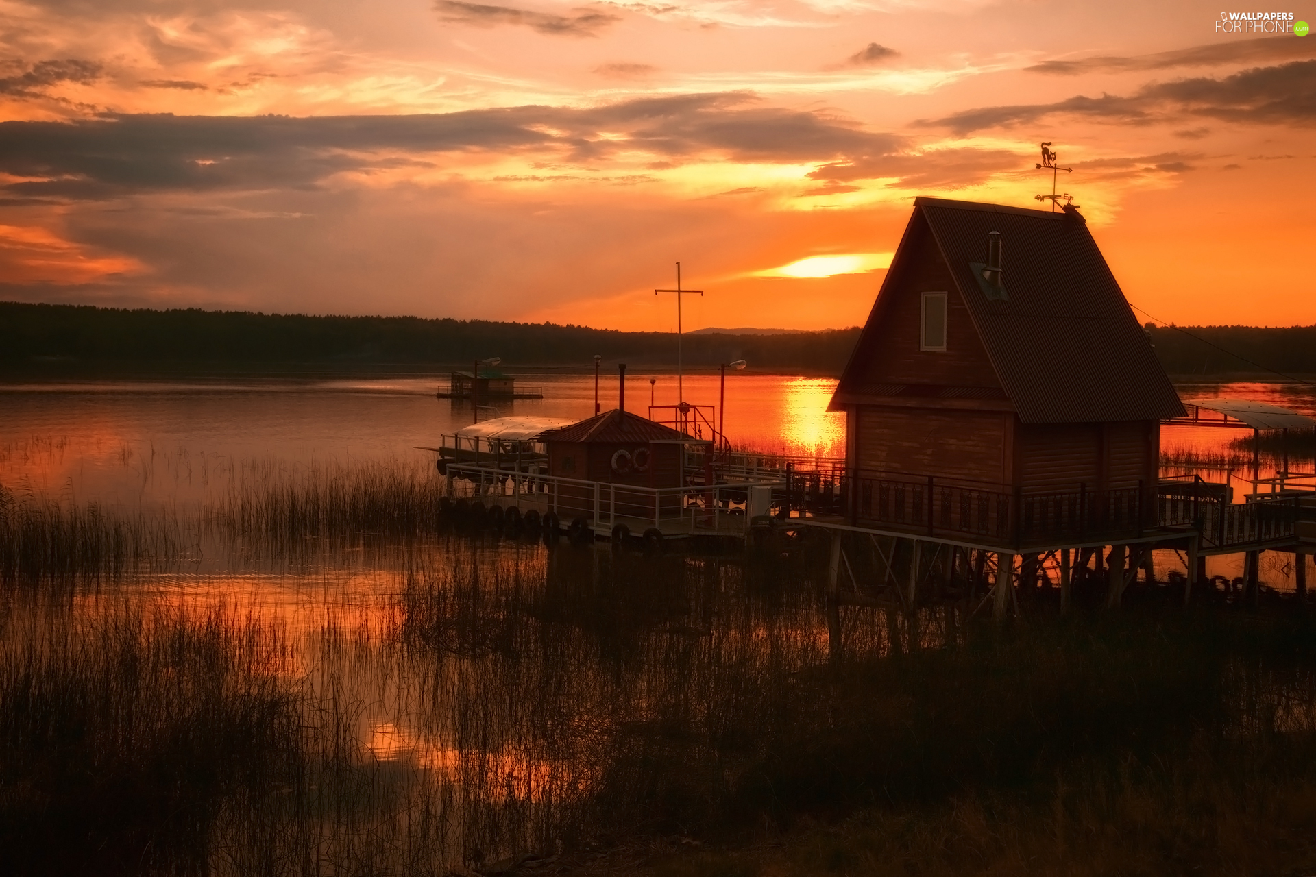 Platform, Harbour, rushes, Great Sunsets, house, lake