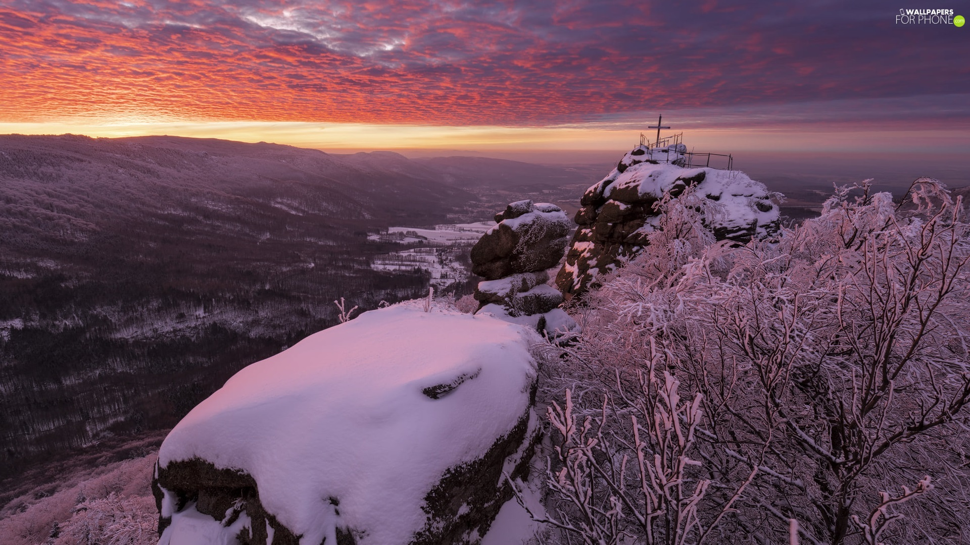Jizera Mountains, winter, rocks, Snowy, clouds, Czech Republic, viewes, Great Sunsets, trees