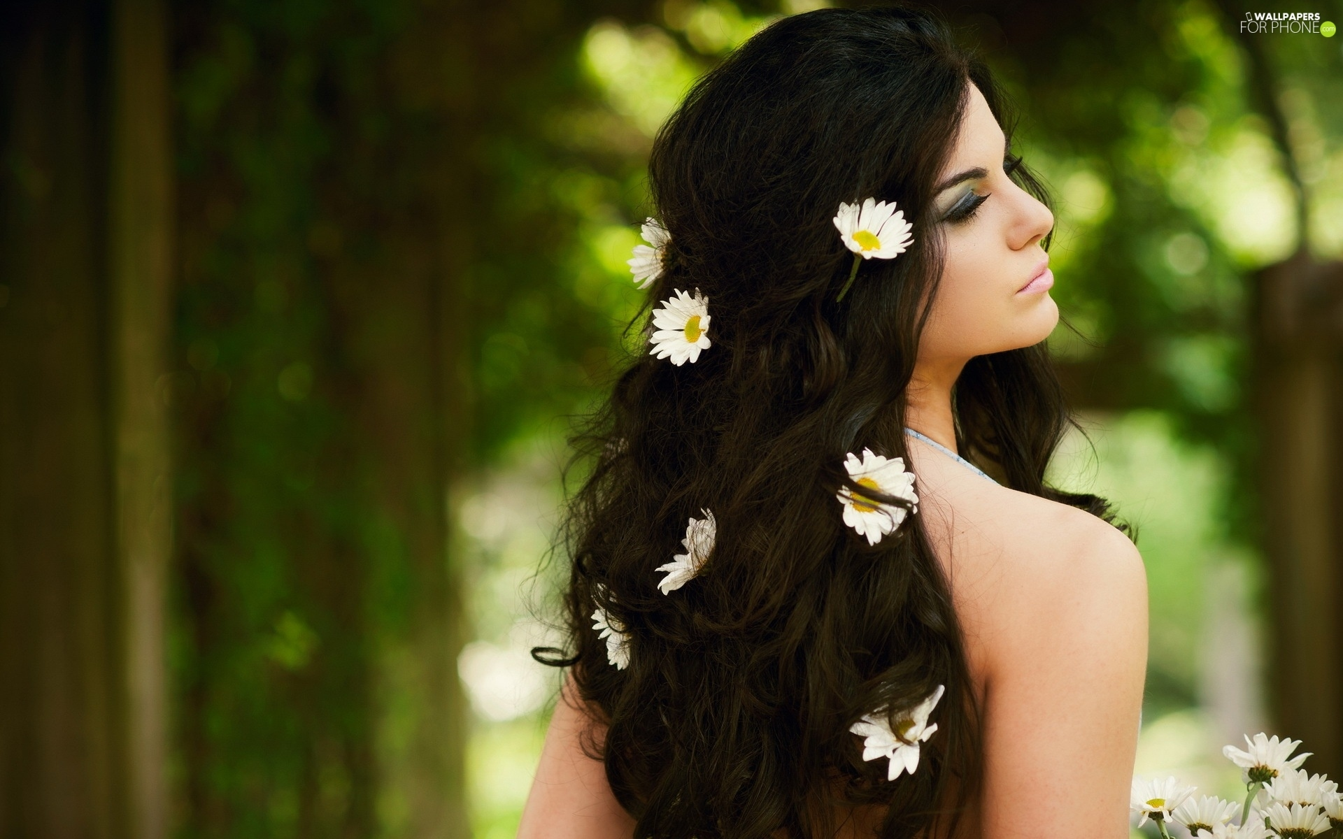 hair, forest, Flowers, We, Women