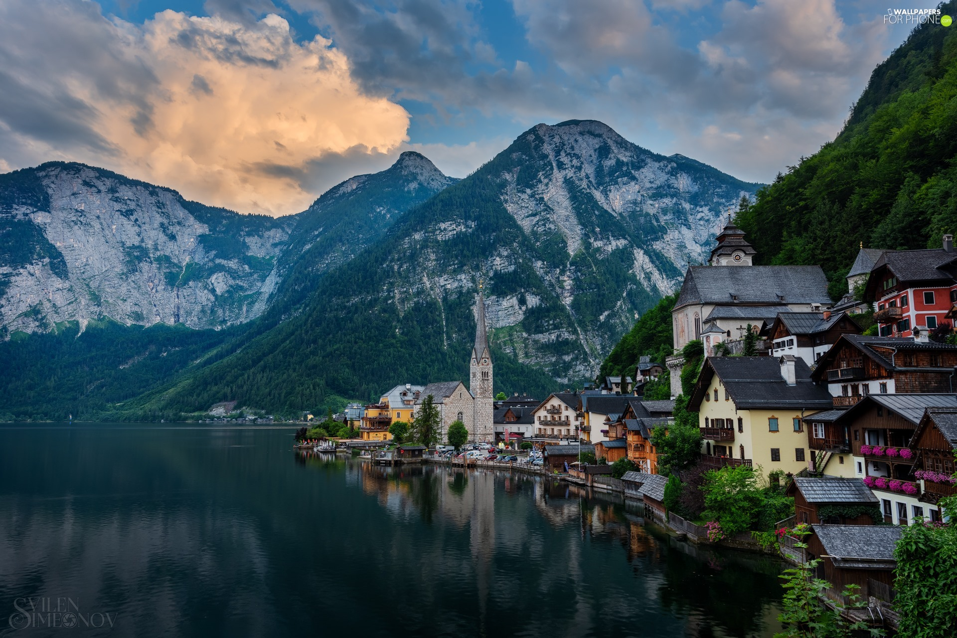 Hallstattersee Lake, Austria, Church, Houses, forest, clouds, viewes, Town, Hallstatt, trees, Mountains
