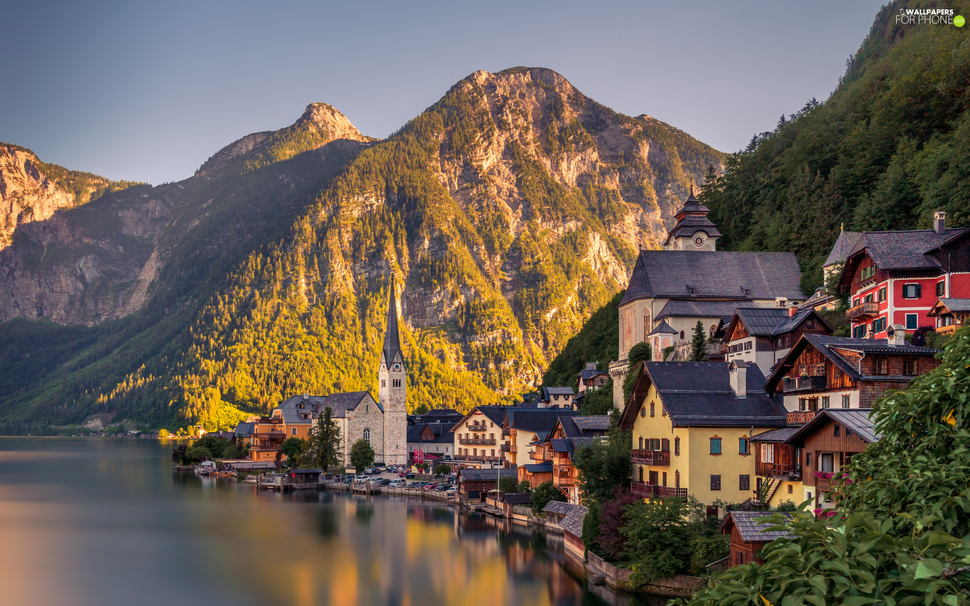 Mountains, Great Sunsets, Hallstattersee Lake, Houses, Hallstatt, Austria, viewes, Town, trees