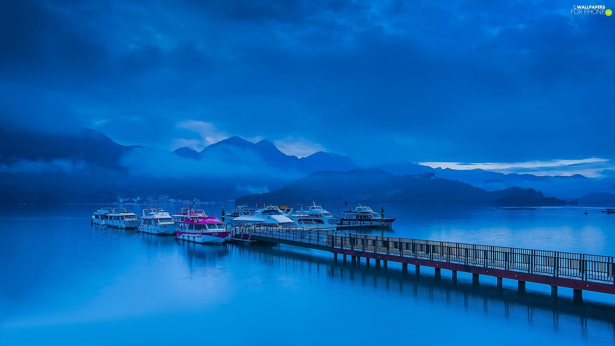 Harbour, Boats, Fog, Platform, Mountains