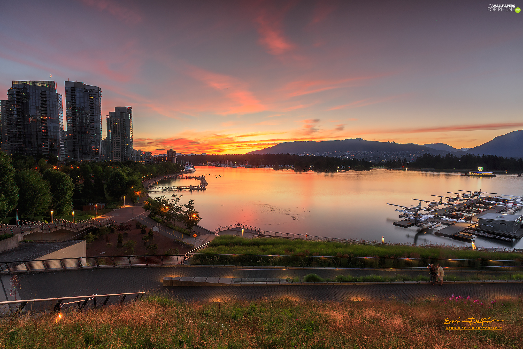 Harbour, Gulf, Coal Harbour, viewes, trees, Vancouver, clouds, Sailboats, Canada, Sunrise, Mountains, skyscrapers