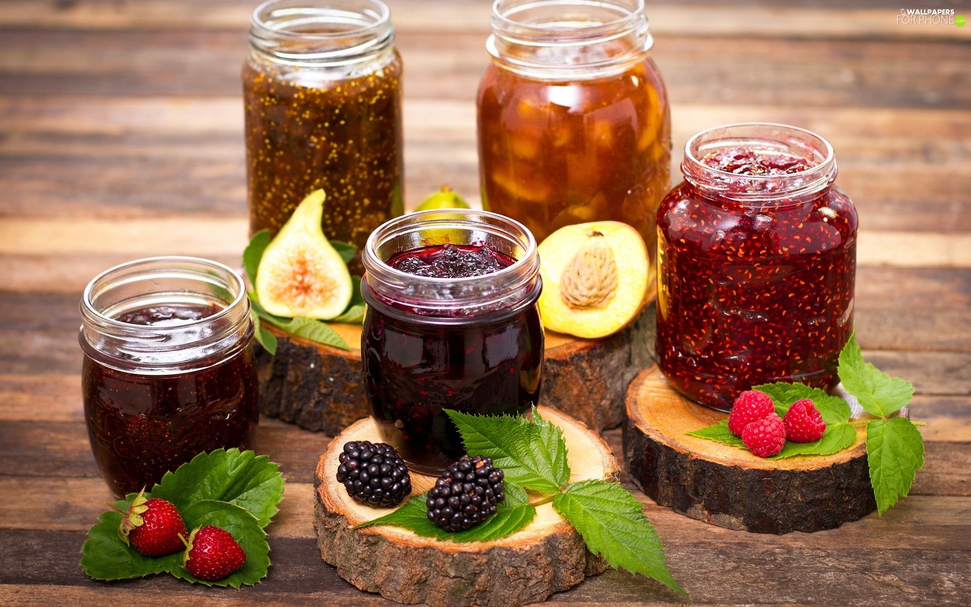 Jars, Preparations, Jam, Fruits, peach, leaves, blackberries, strawberries, raspberries