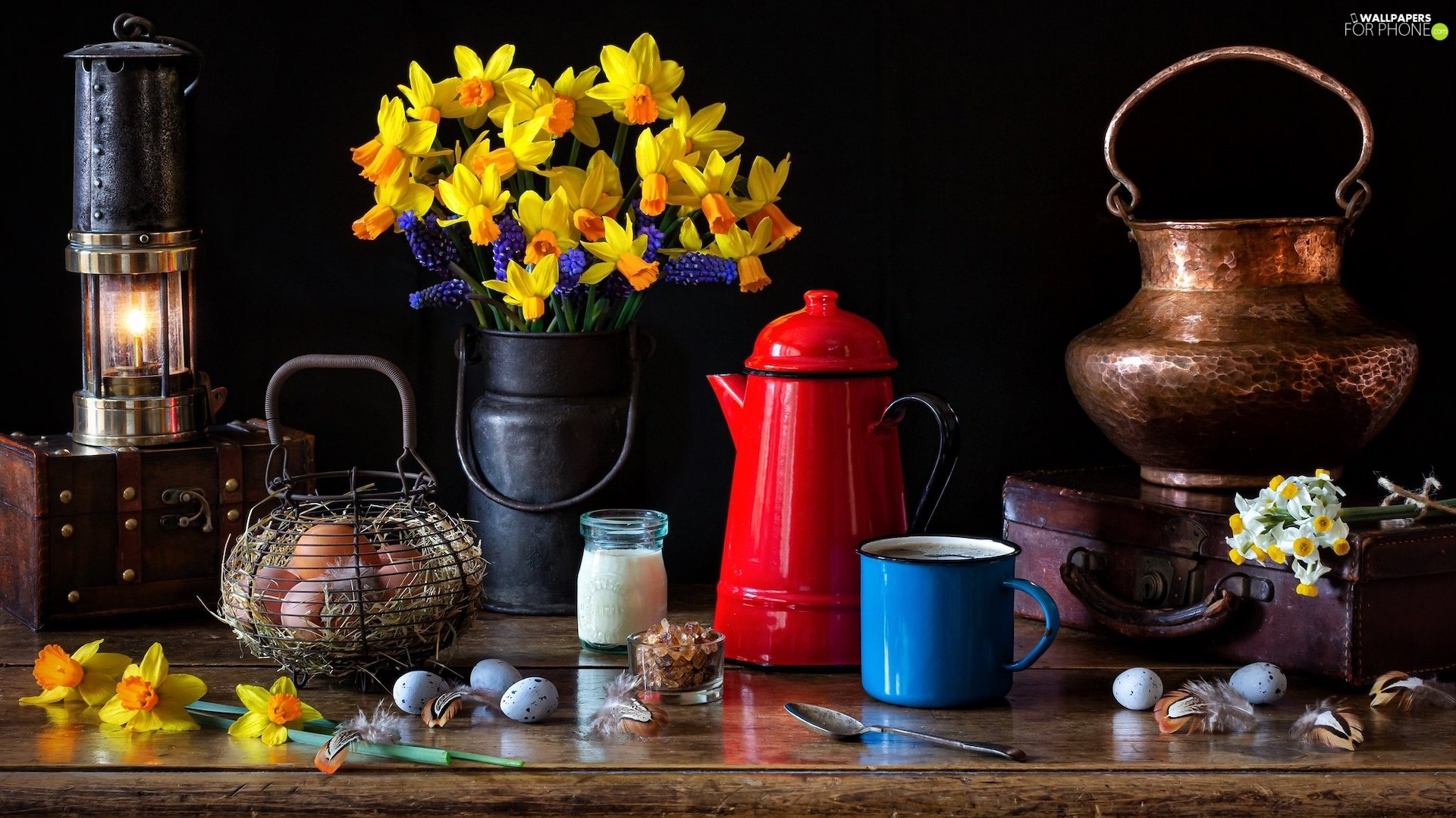 eggs, Daffodils, Cup, Lamp, composition, jug, pot