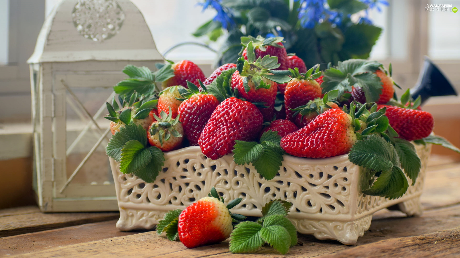 container, Castellated, strawberries, lantern, Mature, bowl