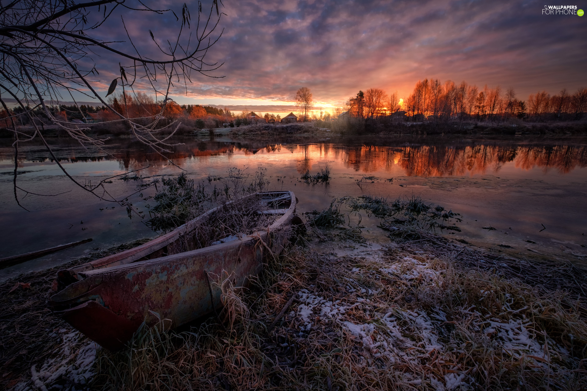 Boat, Dubna River, Great Sunsets, winter, Latgale, Latvia, trees, viewes, Houses