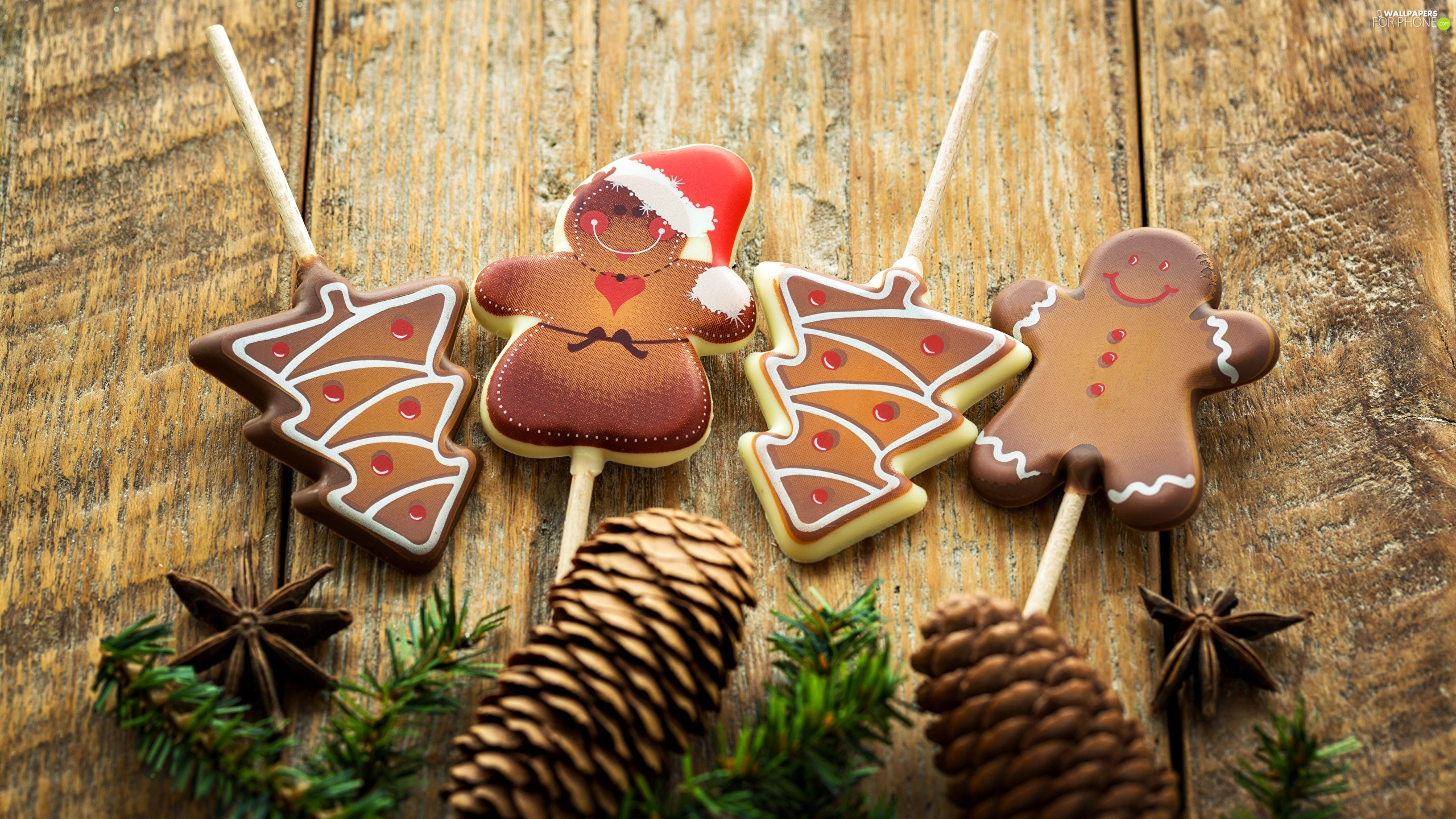 cones, lollipops, ginger, Twigs, Christmas