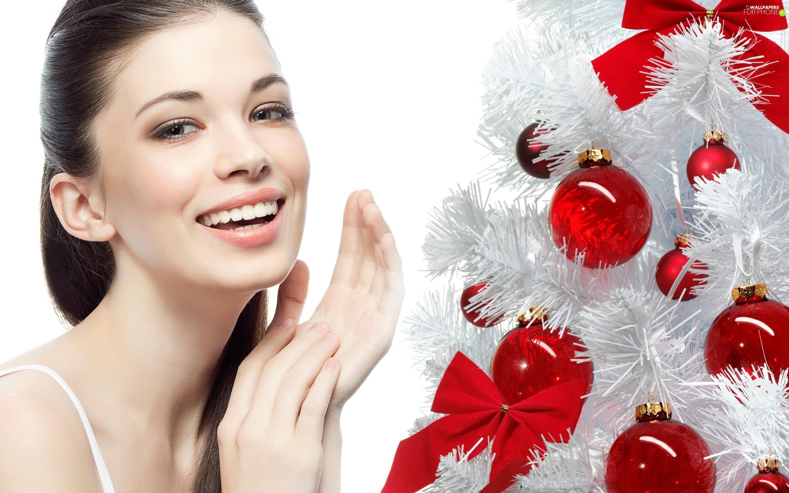 White, christmas tree, model, make-up, smiling - For phone ...