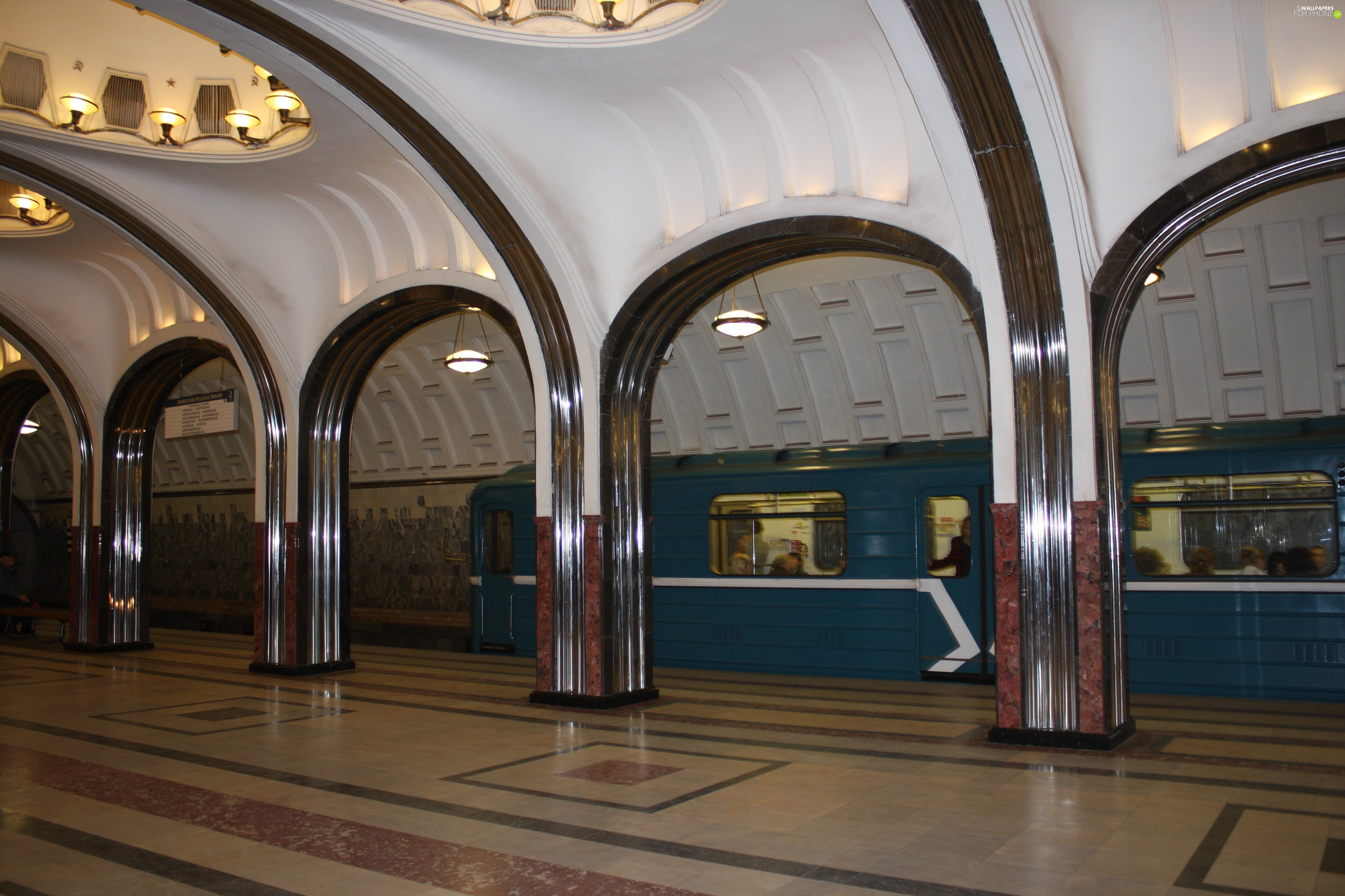 Russia, Station Mayakovsky, metro, Moscow