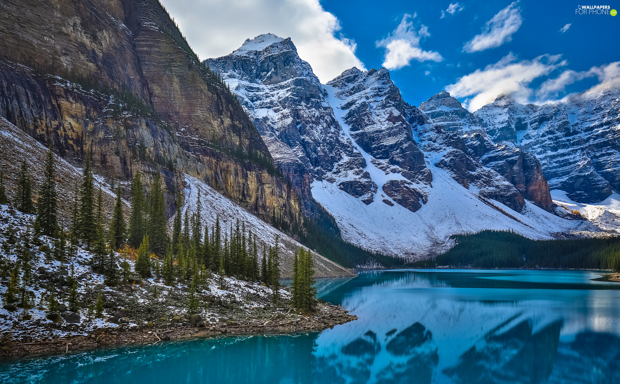 Alberta, Canada, Banff National Park, Lake Moraine, Mountains, clouds, trees, viewes, Valley of the Ten Peaks