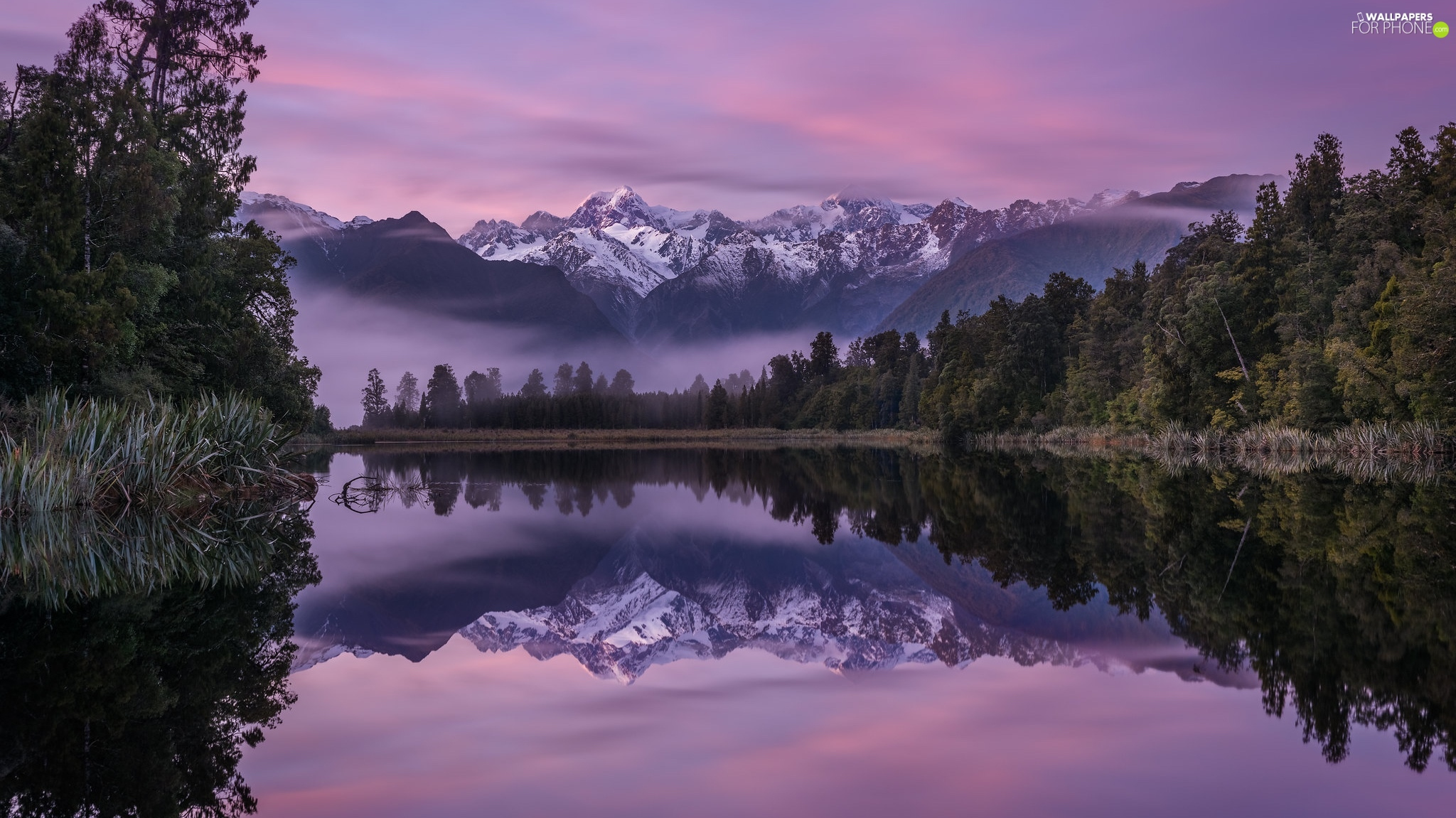 Mountains, Mount Cook National Park, reflection, trees, Mount Cook, New Zeland, Fog, Matheson Lake, viewes