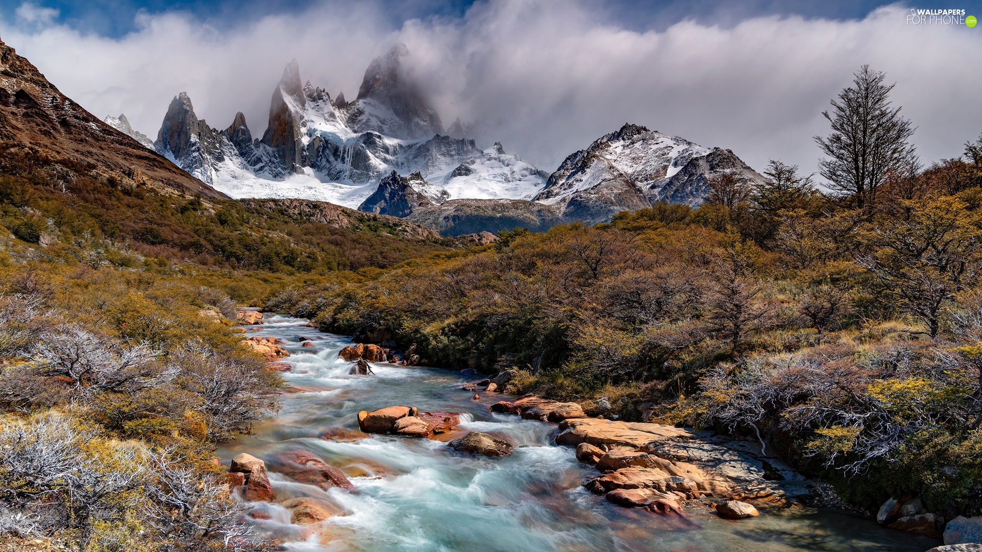 VEGETATION, Fitz Roy Mountain, Stones, Patagonia, trees, Andes Mountains, River, Argentina, clouds, viewes