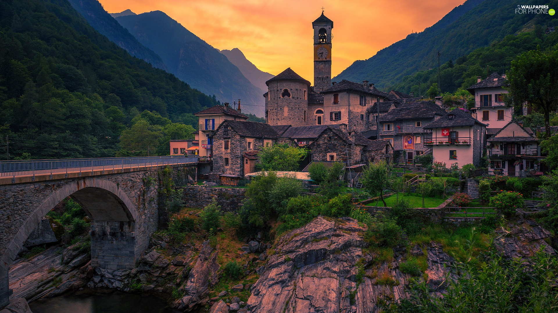 Mountains, bridge, Switzerland, River, Ticino Canton, Houses, Church, Lavertezzo