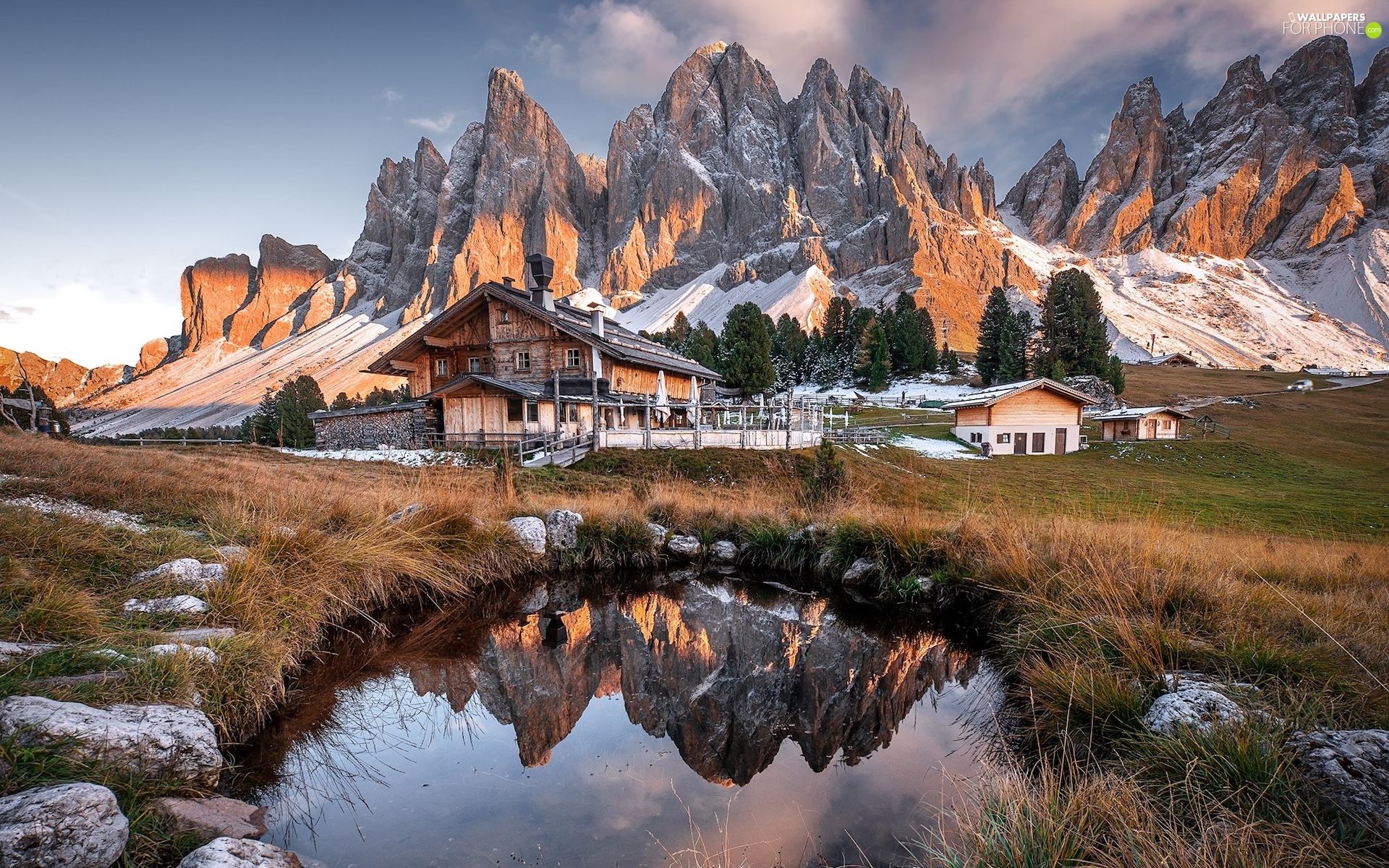 Puez-Odle nature park, house, viewes, Mountains, trees, Dolomites, Italy, clouds