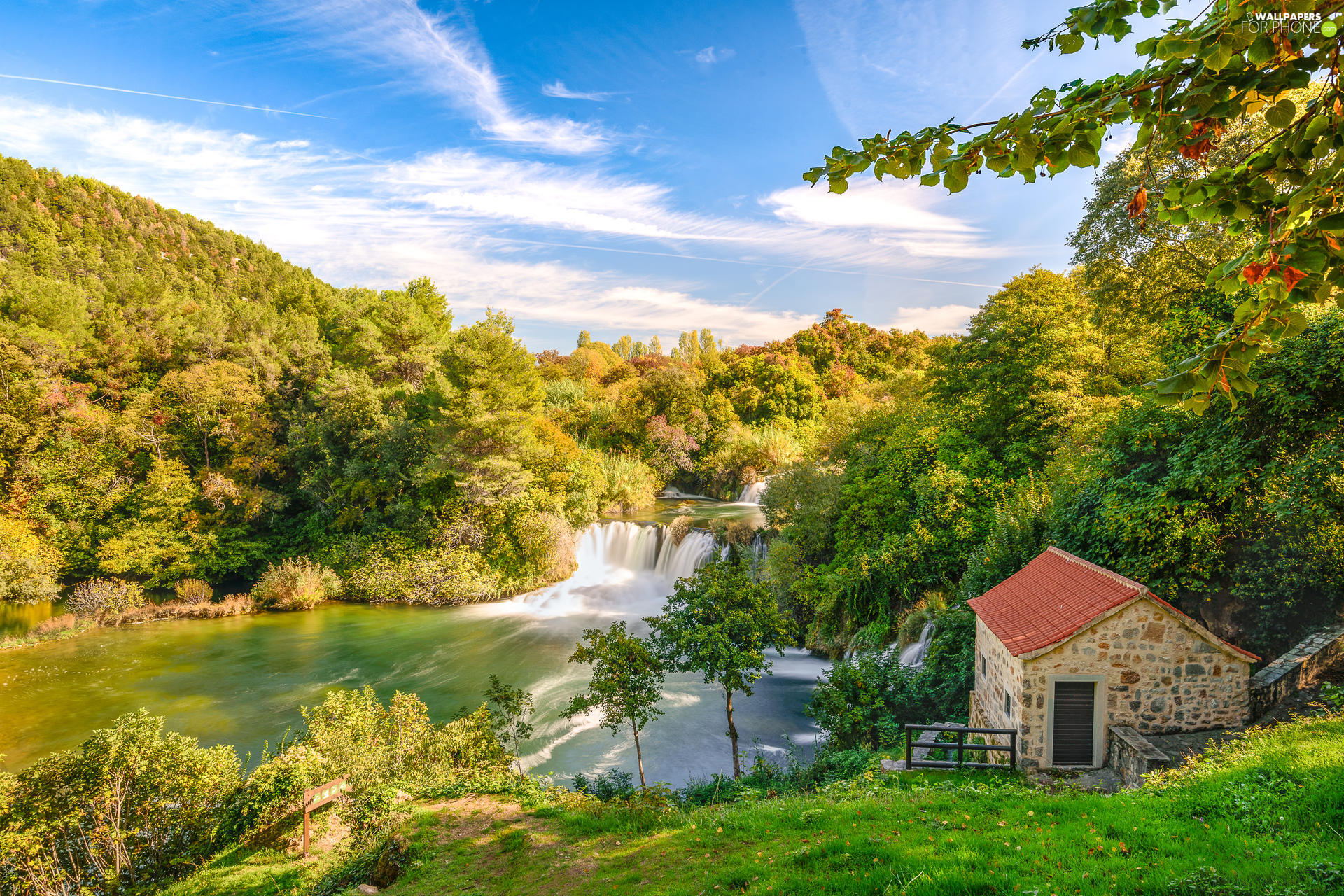 Krka River, house, waterfall, forest, Dalmatia, Coartia, viewes, Krka National Park, trees