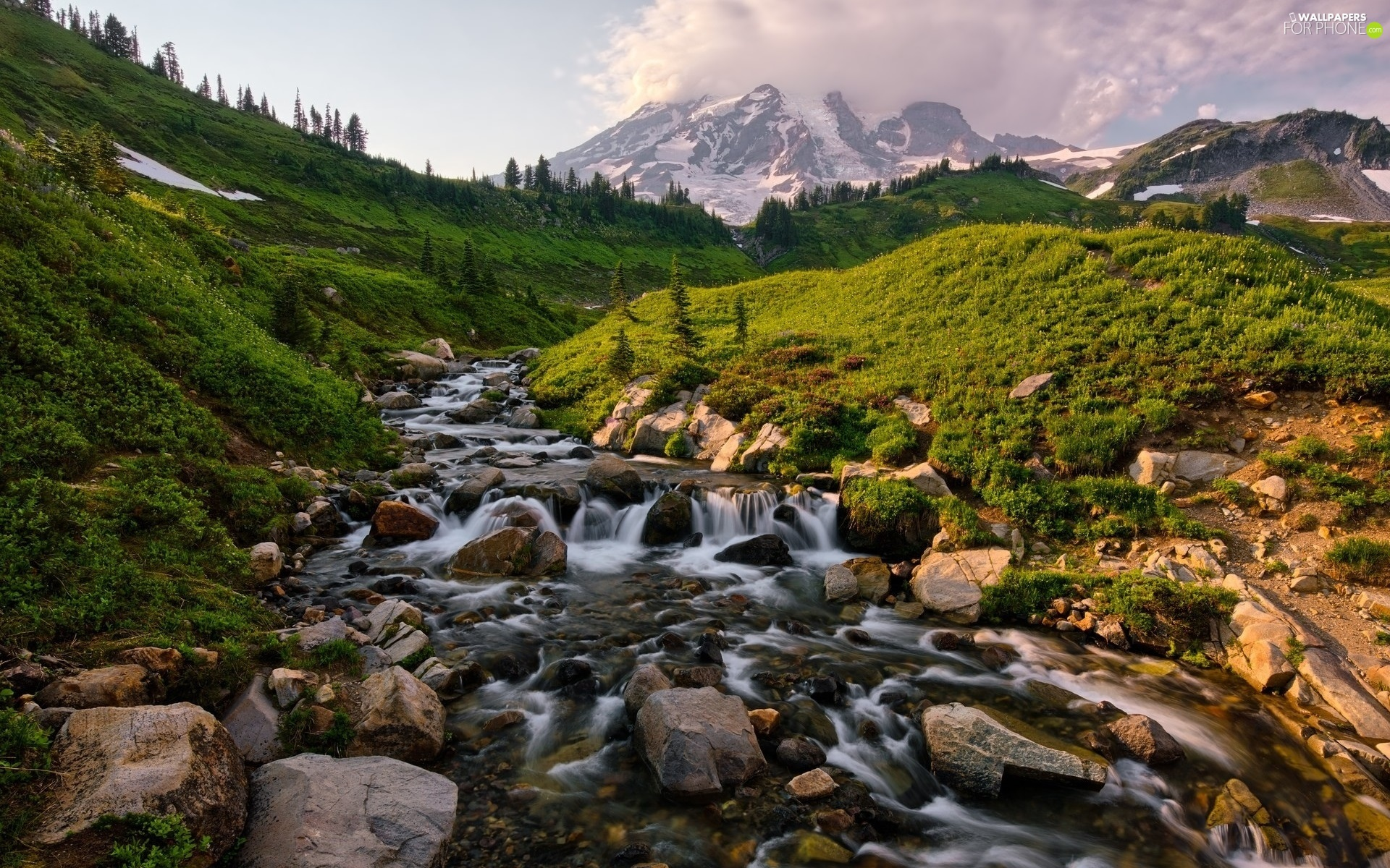 Mountains, River, Washington State, Stones, Mount Rainier National Park, Mount Rainier Peak, The United States