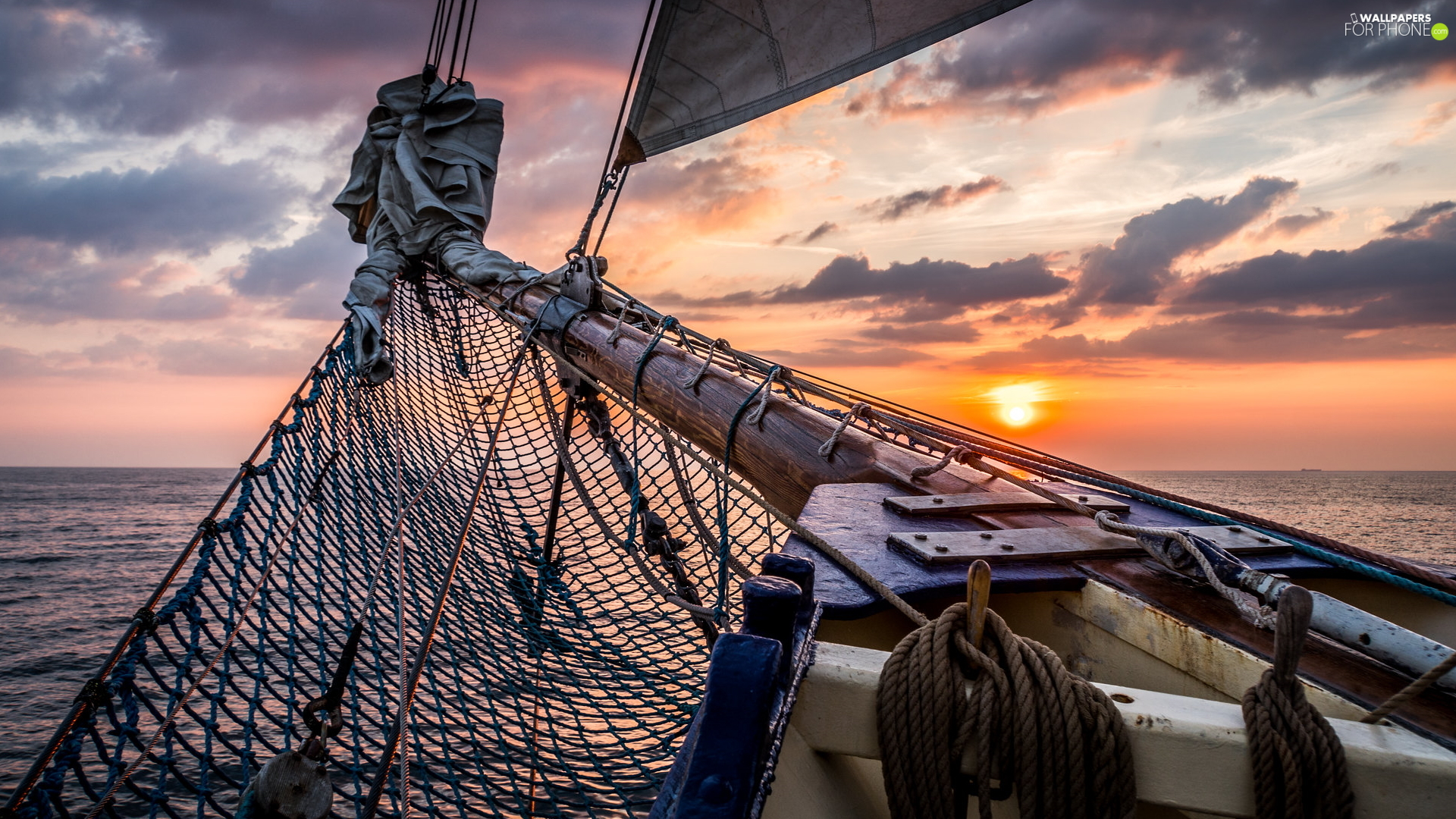 sea, Great Sunsets, net, sail, Ship