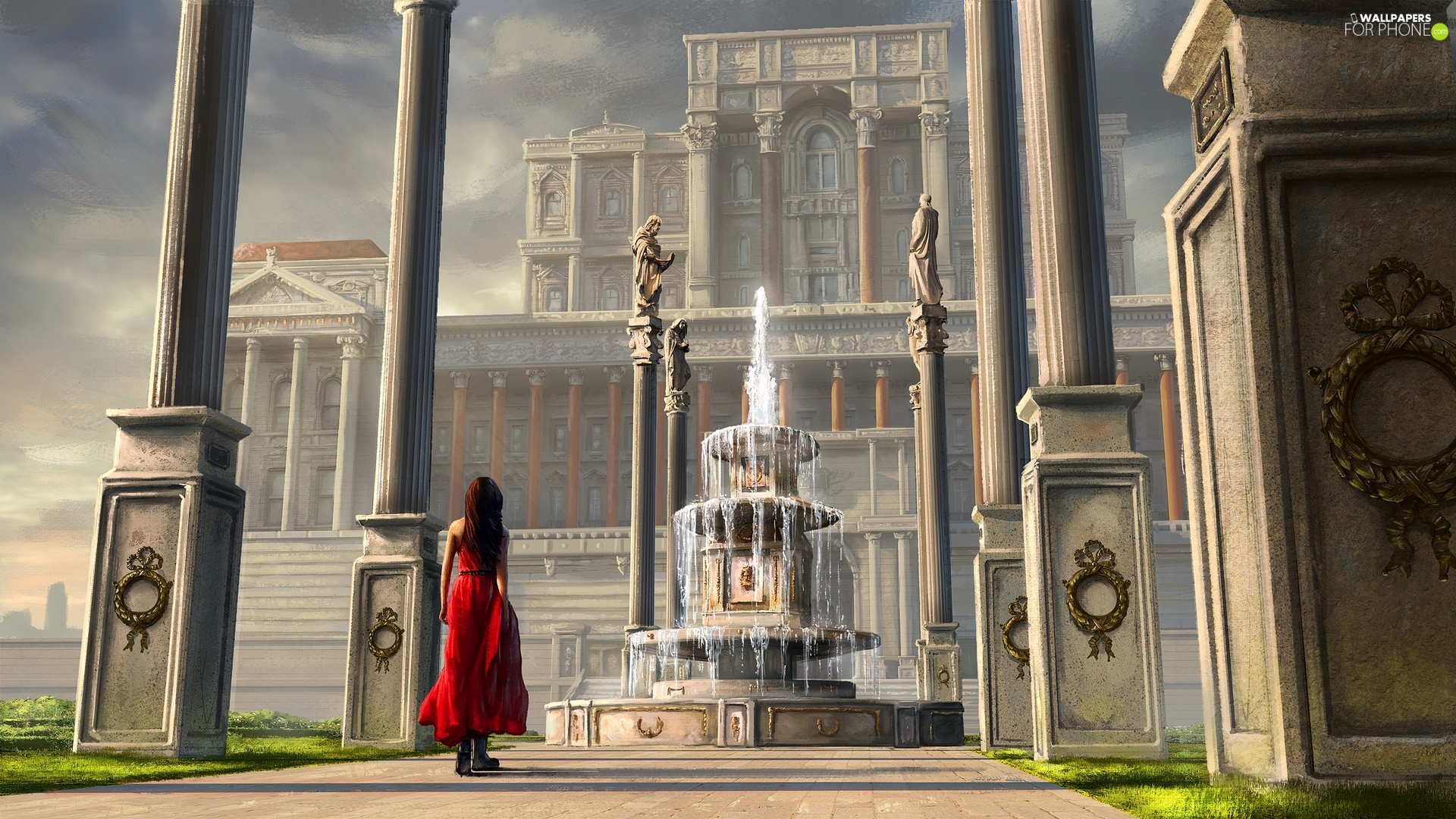 palace, column, dress, fountain, red hot, house, Digital Art, girl