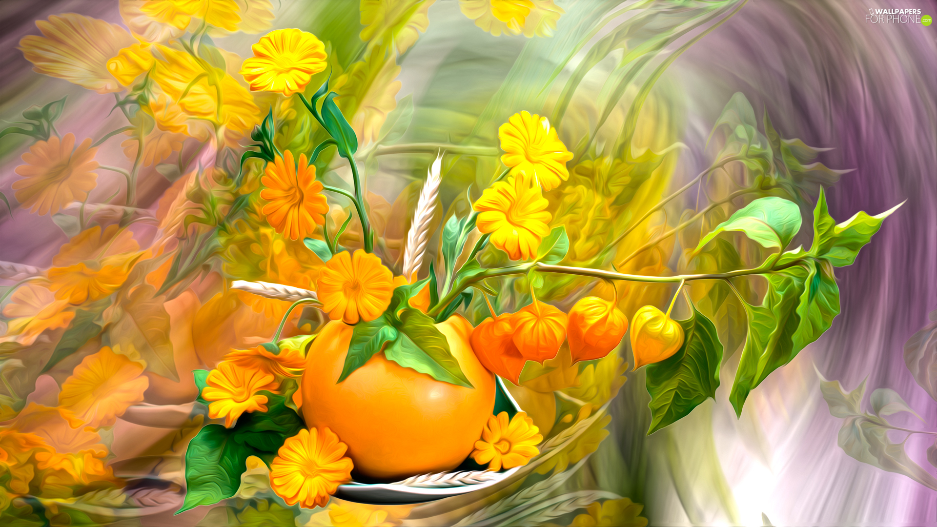 bouquet, Flowers, vase, physalis, Yellow, Leaf, graphics