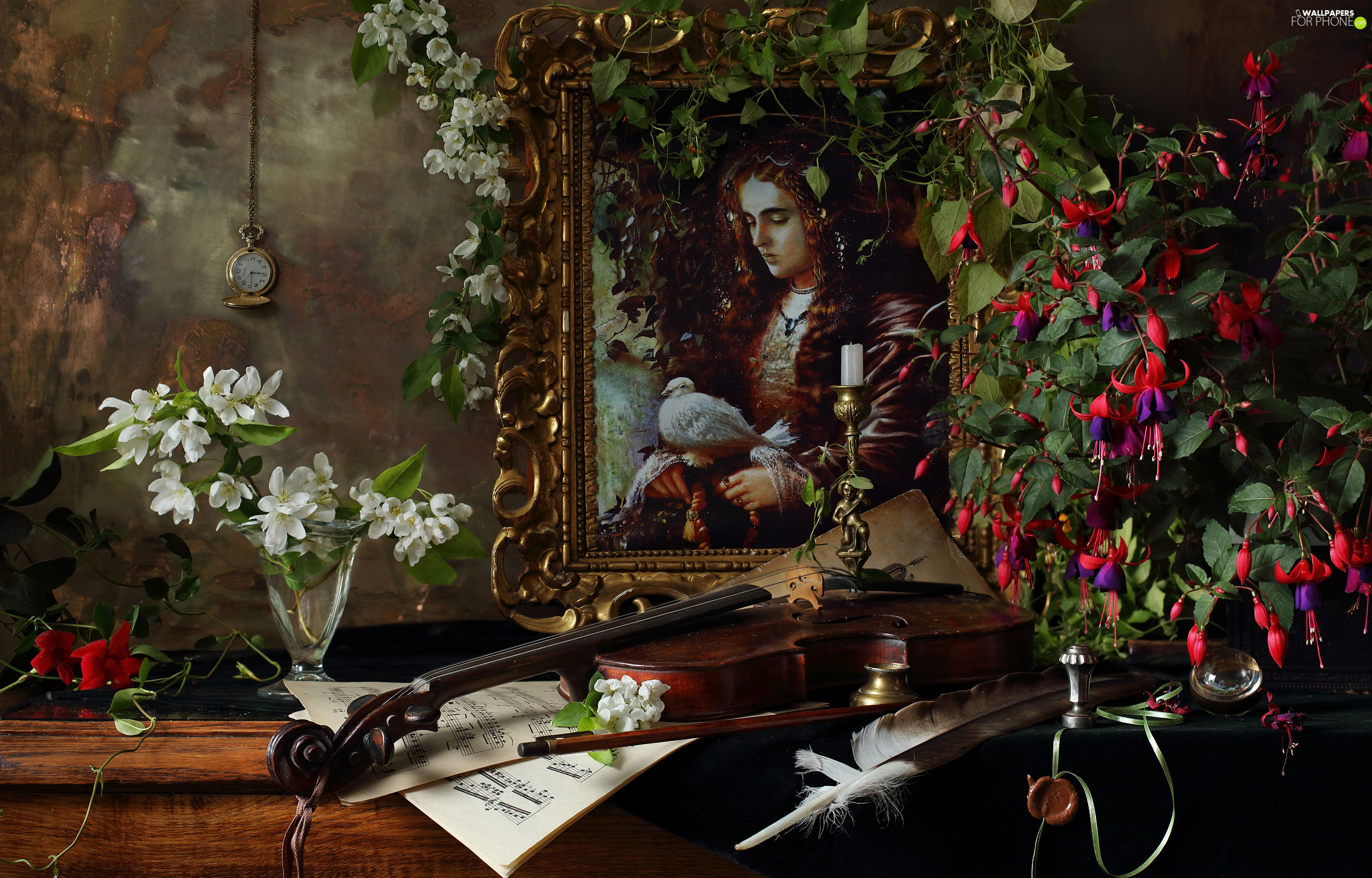violin, fuchsia, Watch, picture, Flowers, pen, composition