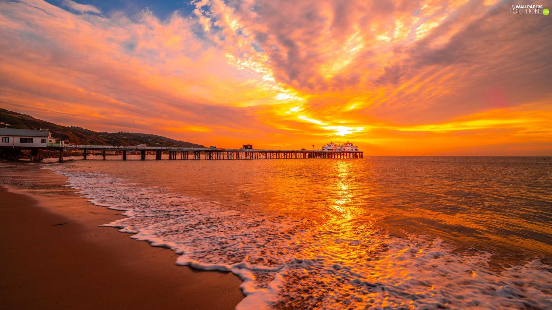 sea, pier, Great Sunsets, Beaches