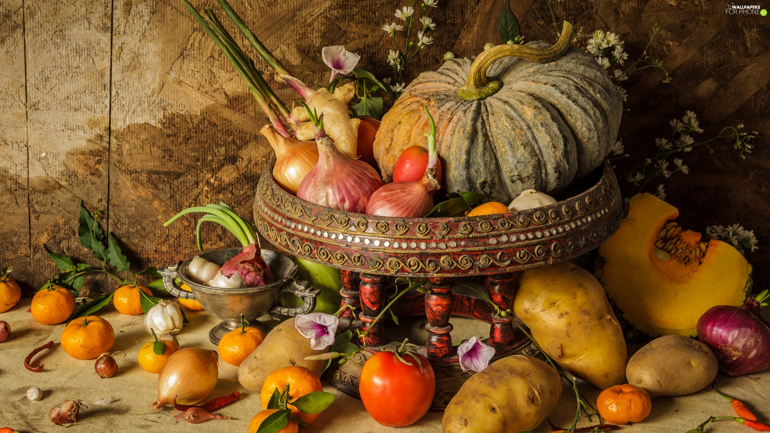 composition, vegetables, pumpkin, plateau