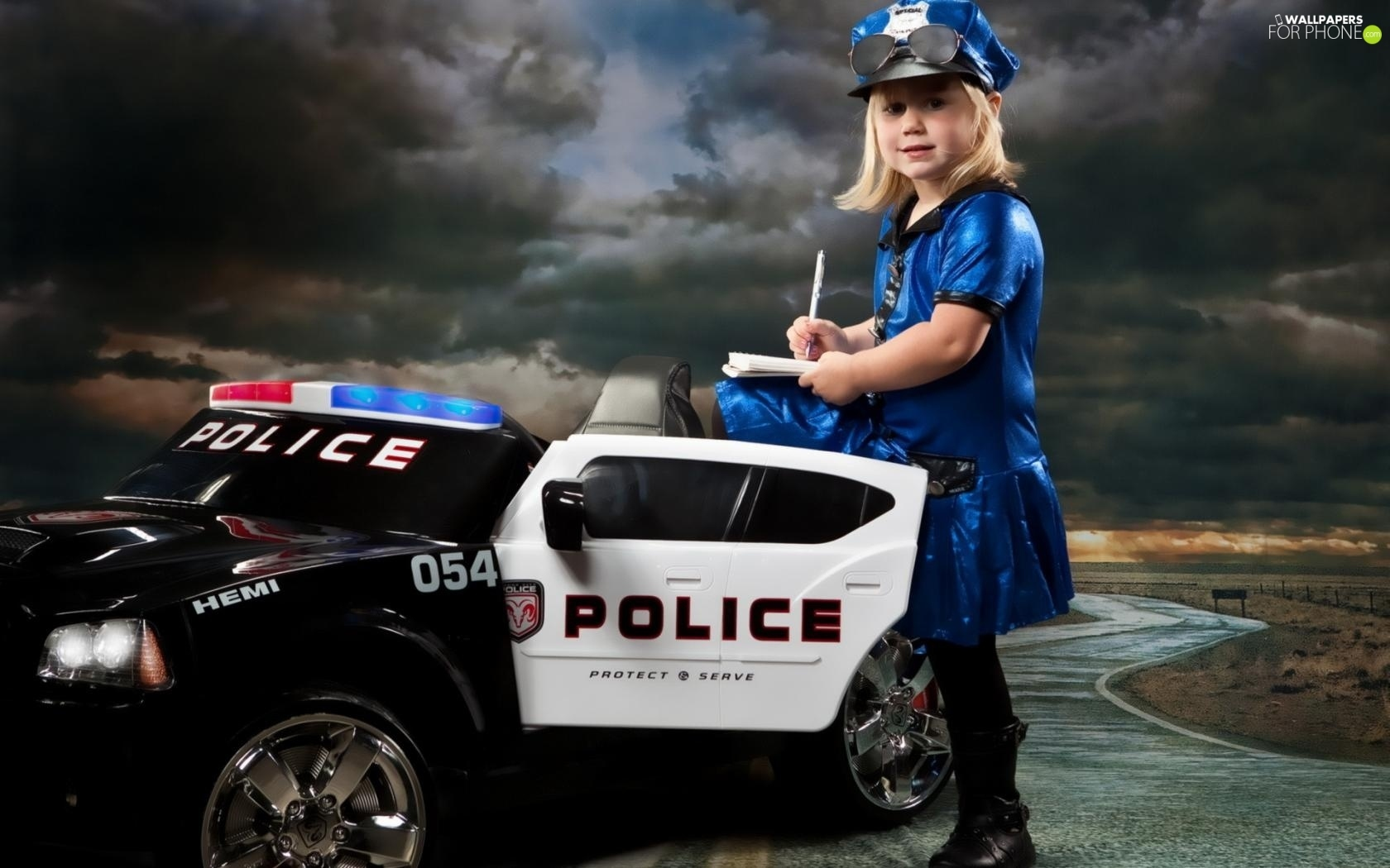 Police, girl, Automobile
